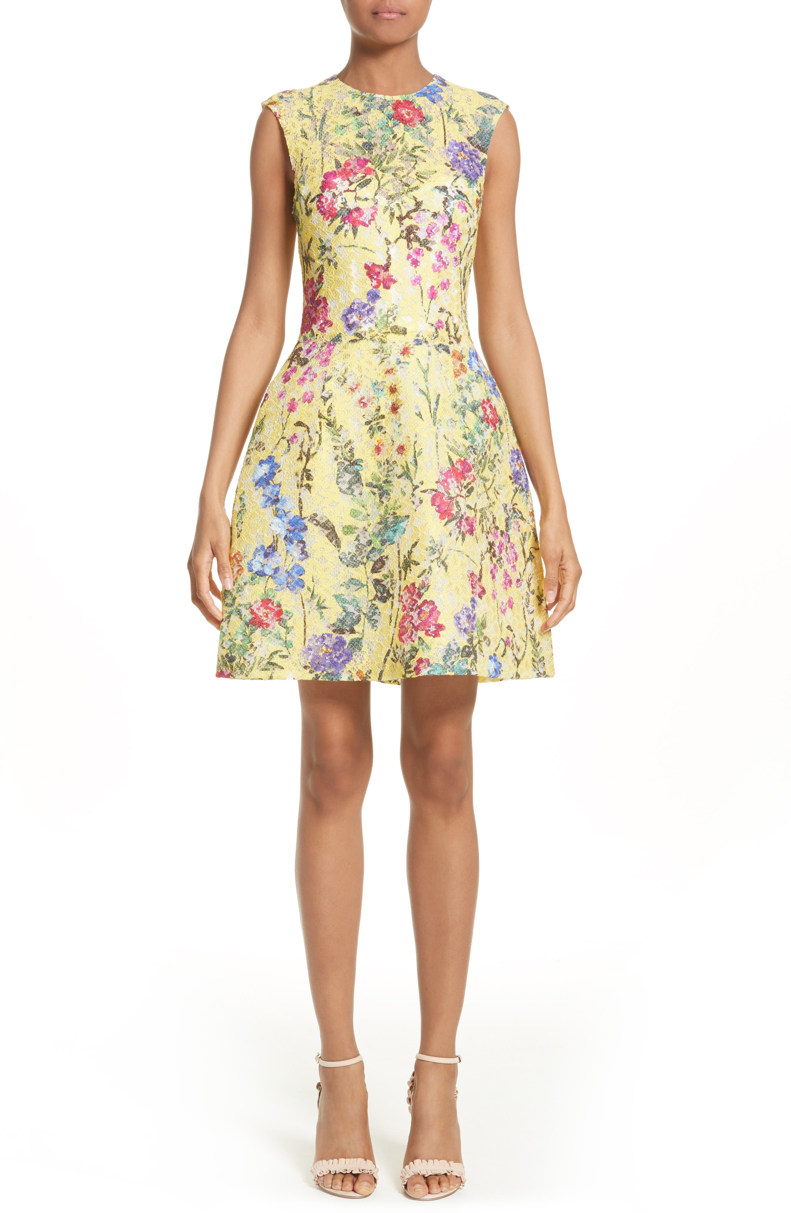 Garden Print Lace Fit & Flare Dress,                         Main,                         color, Yellow Multi
