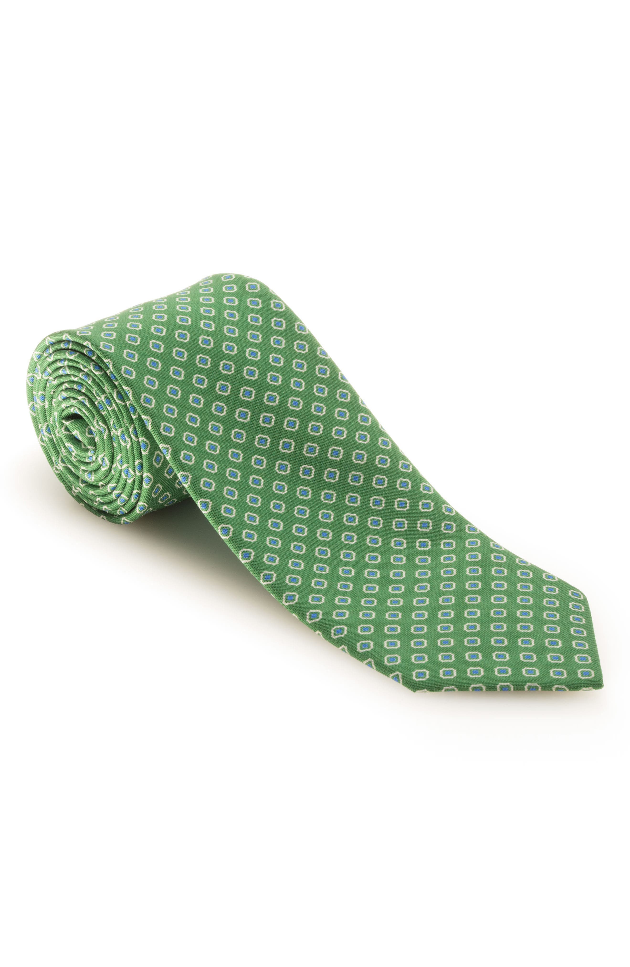 Medallion Silk Tie,                             Main thumbnail 1, color,                             Green