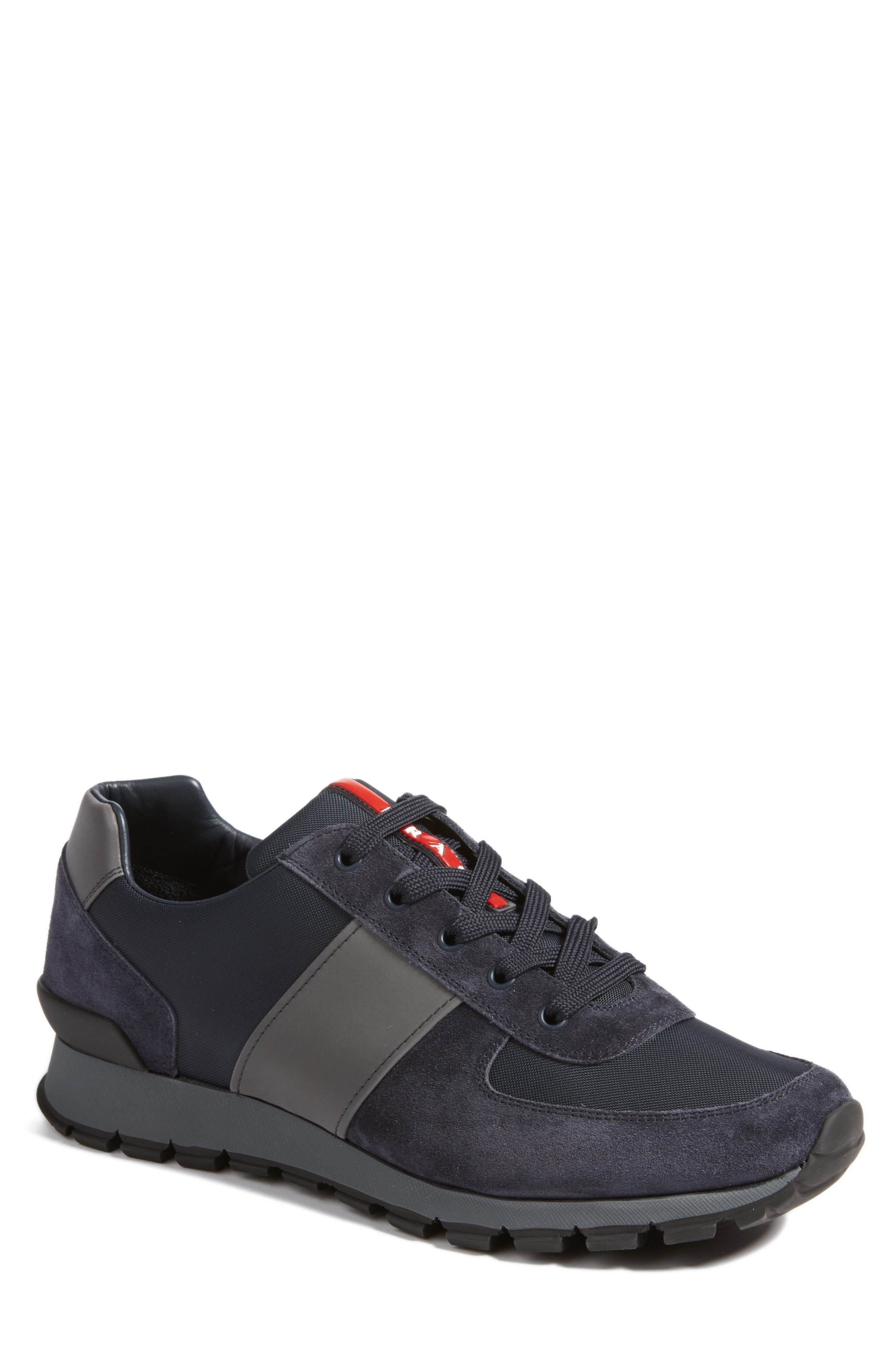 Prada Sneaker,                         Main,                         color, Bleu Suede