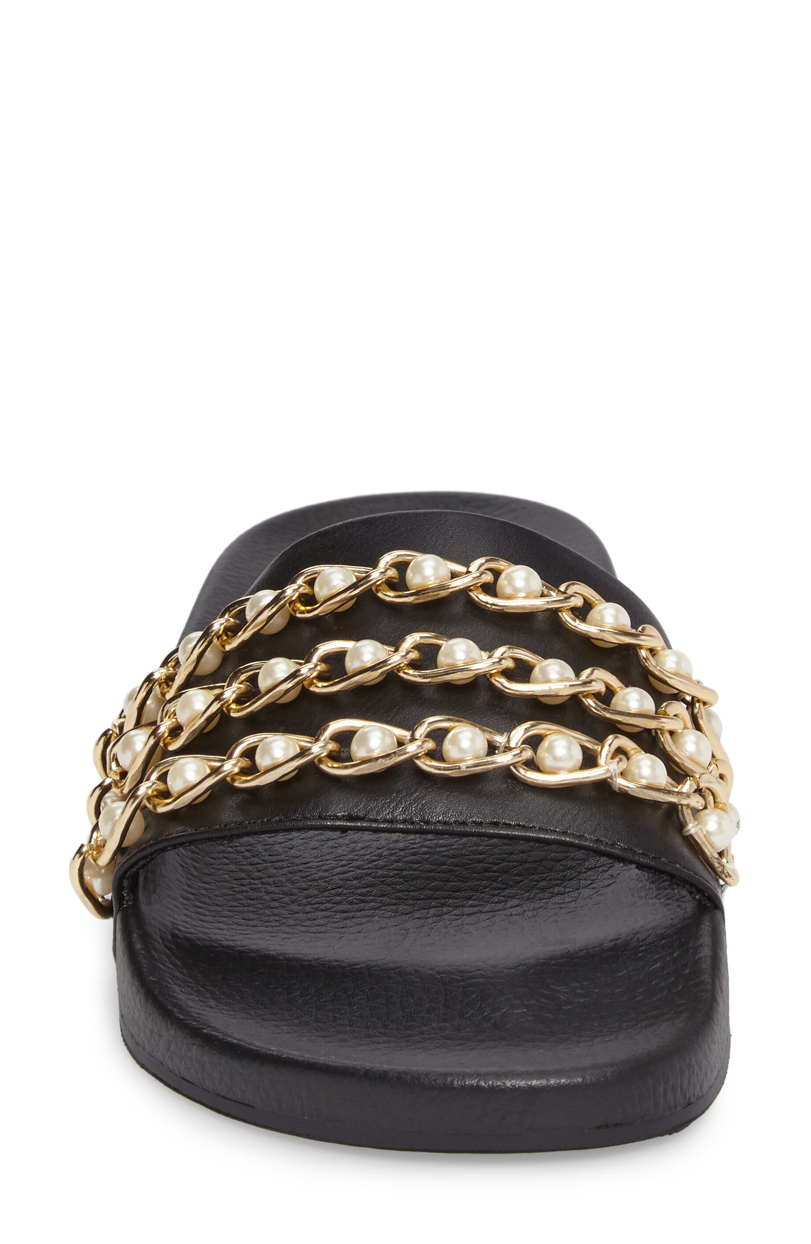 Hottie Pearl Chain Slide Sandal,                             Alternate thumbnail 4, color,                             Black Multi