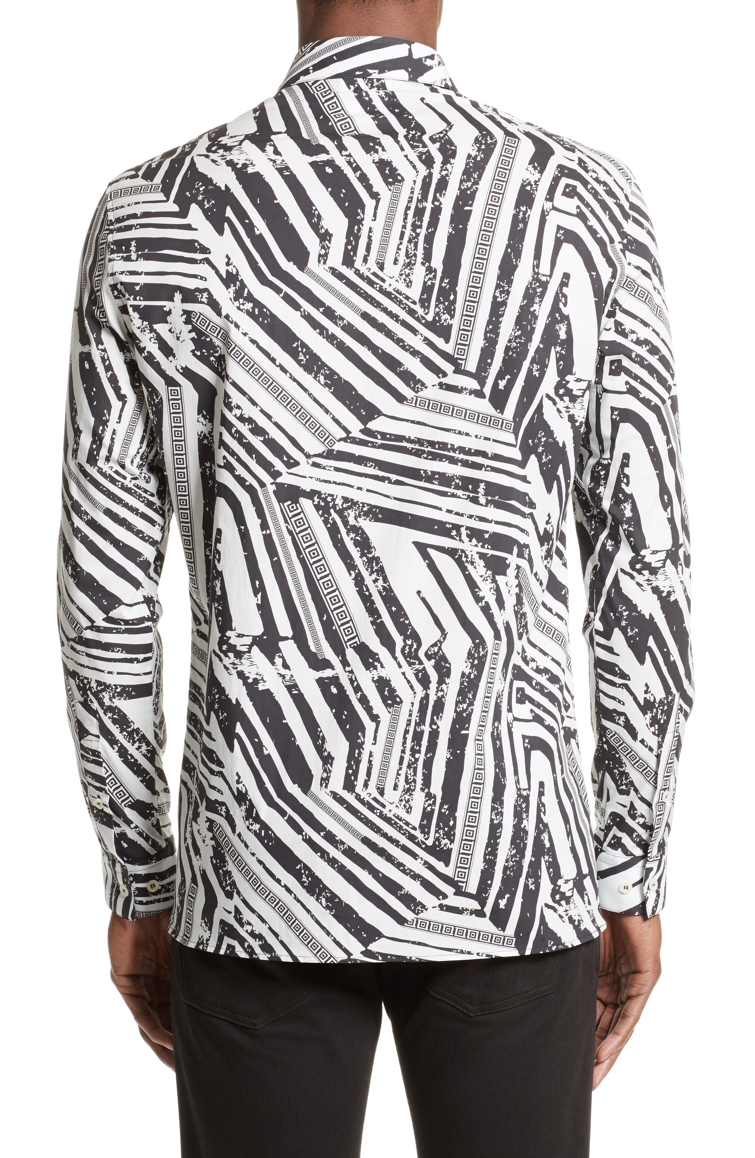Slim Fit Allover Print Sport Shirt,                             Alternate thumbnail 2, color,                             White