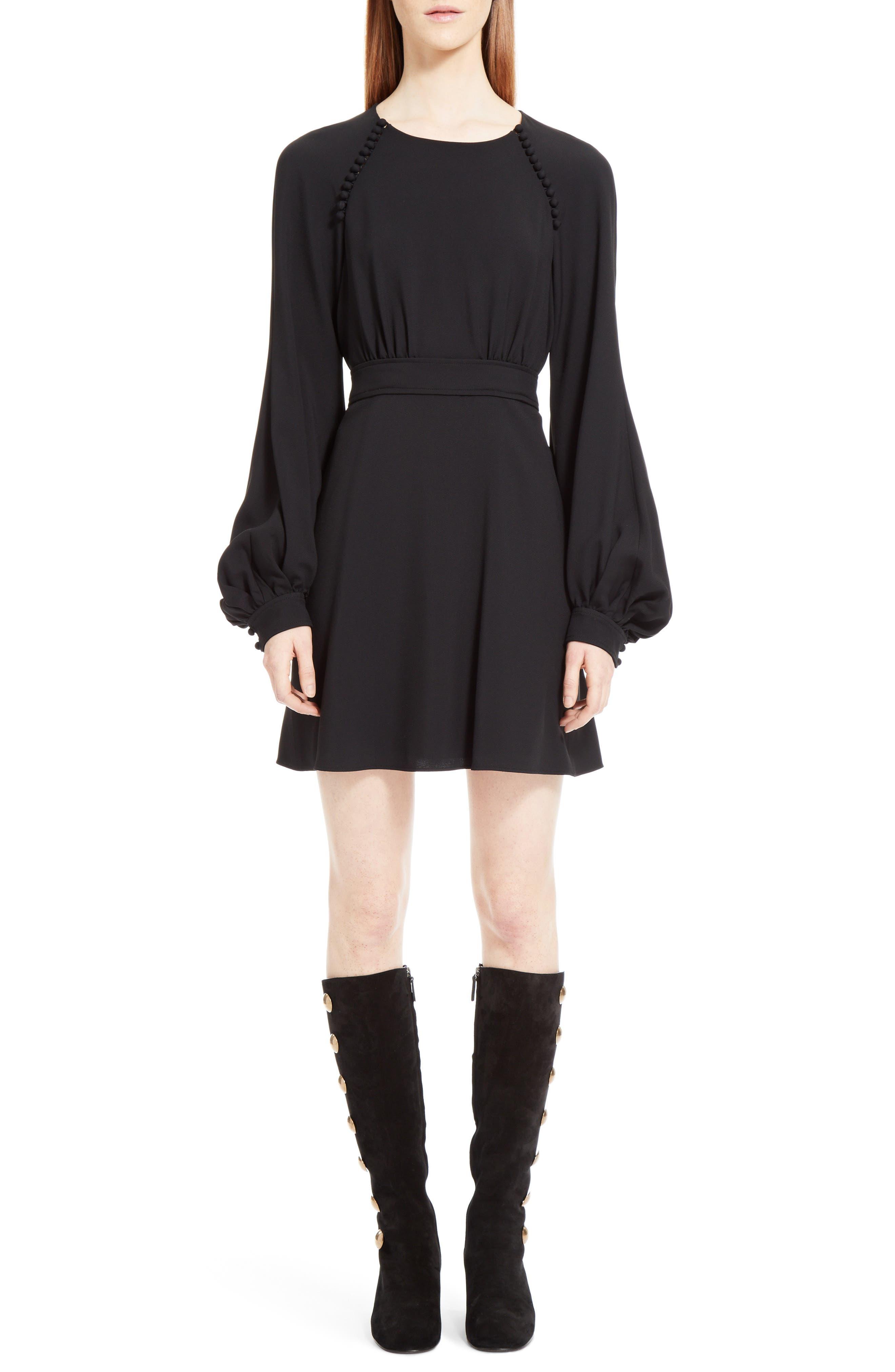 Cady Bell Sleeve Dress,                         Main,                         color, Black