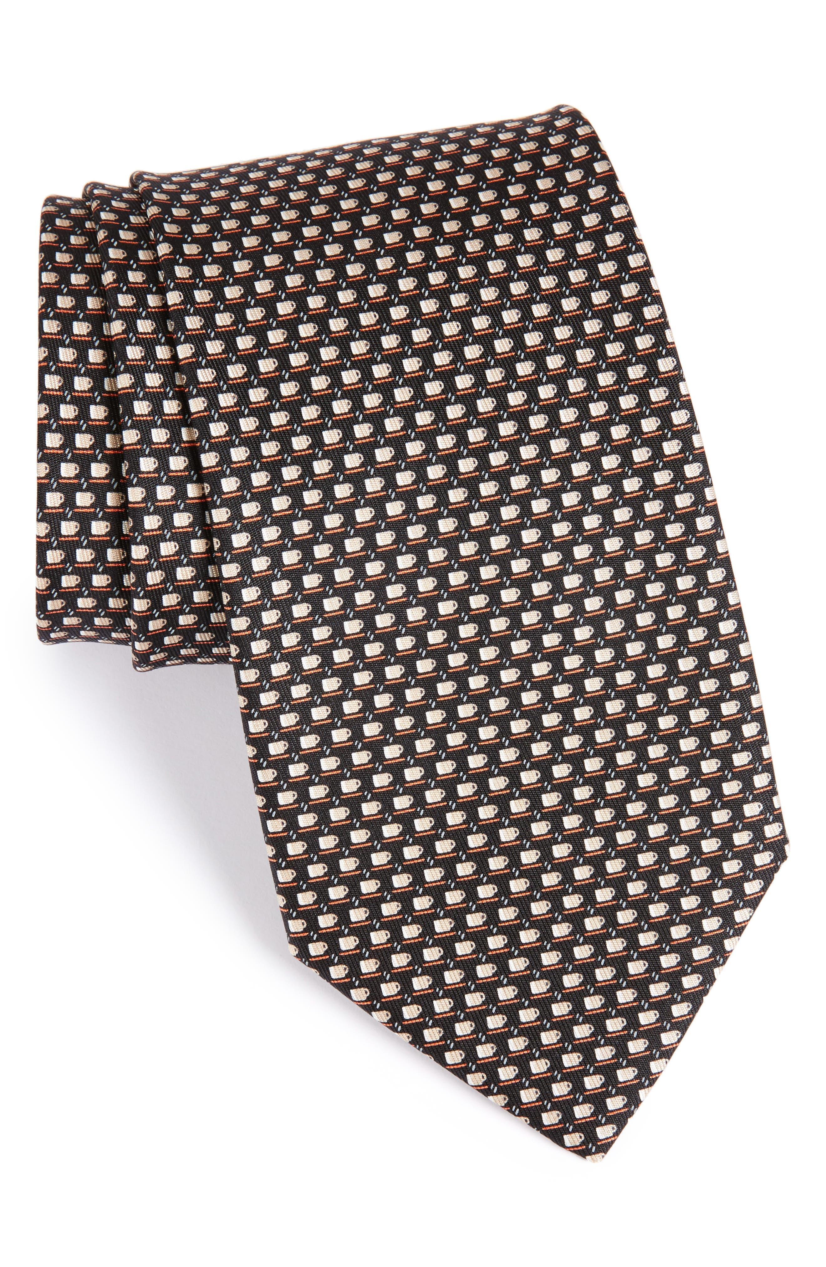 Coffee Cup Print Silk Tie,                         Main,                         color, Black