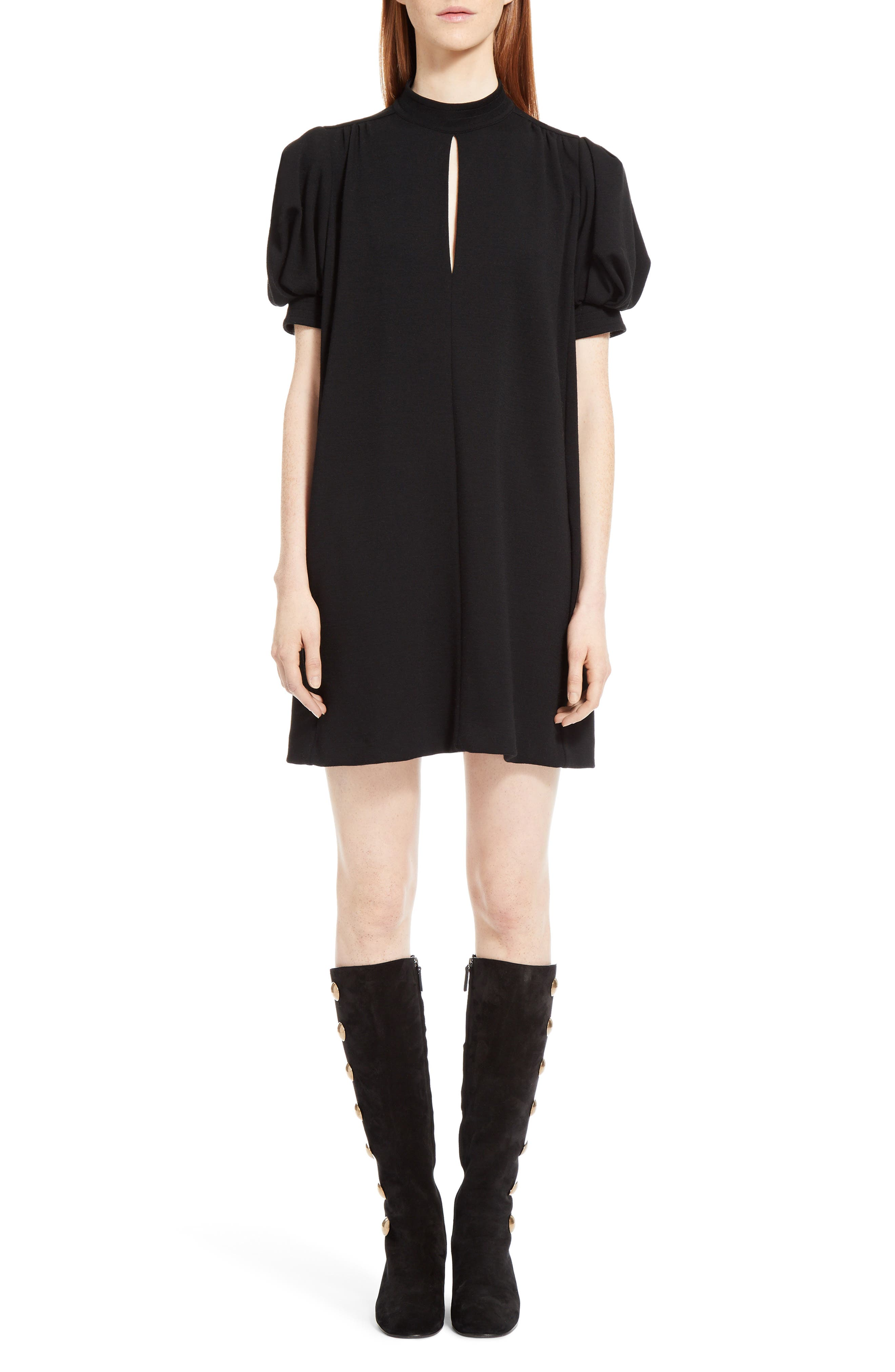 Wool Jersey Dress,                         Main,                         color, Black