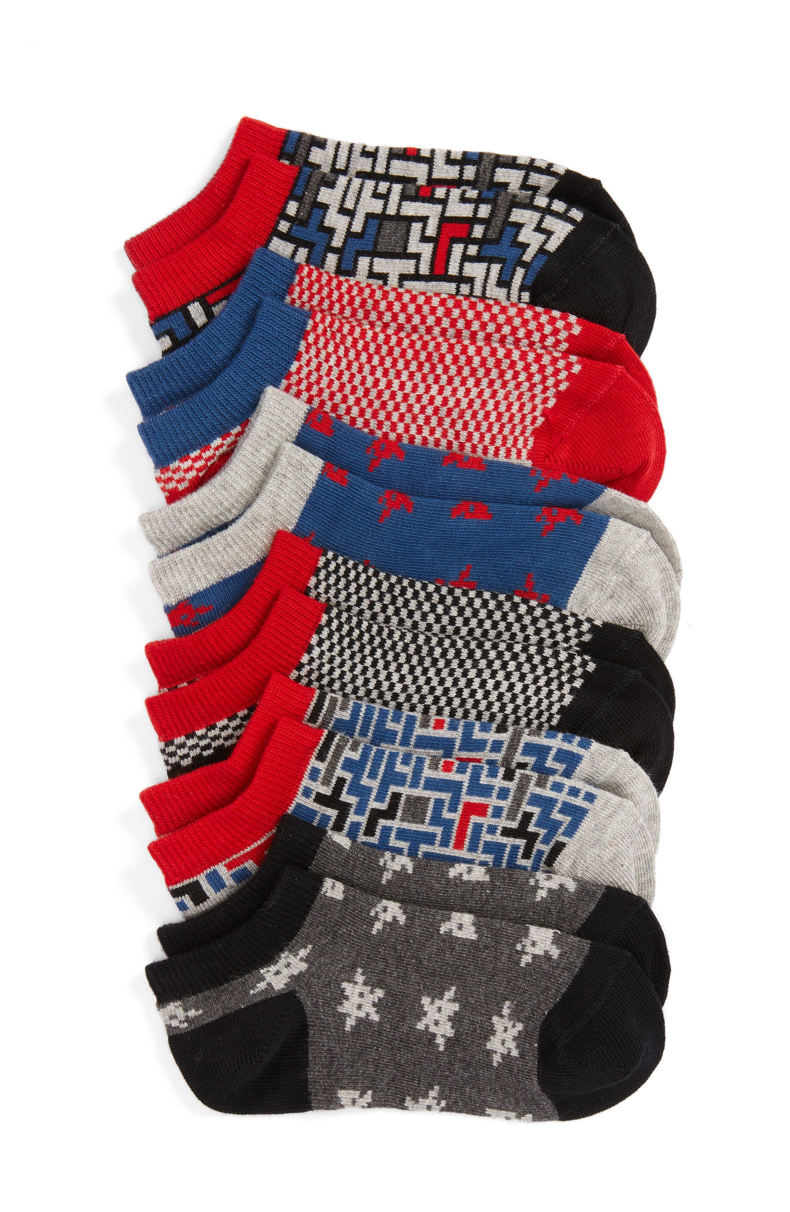Digital Alien 6-Pack Low Cut Socks,                         Main,                         color, Black Multi