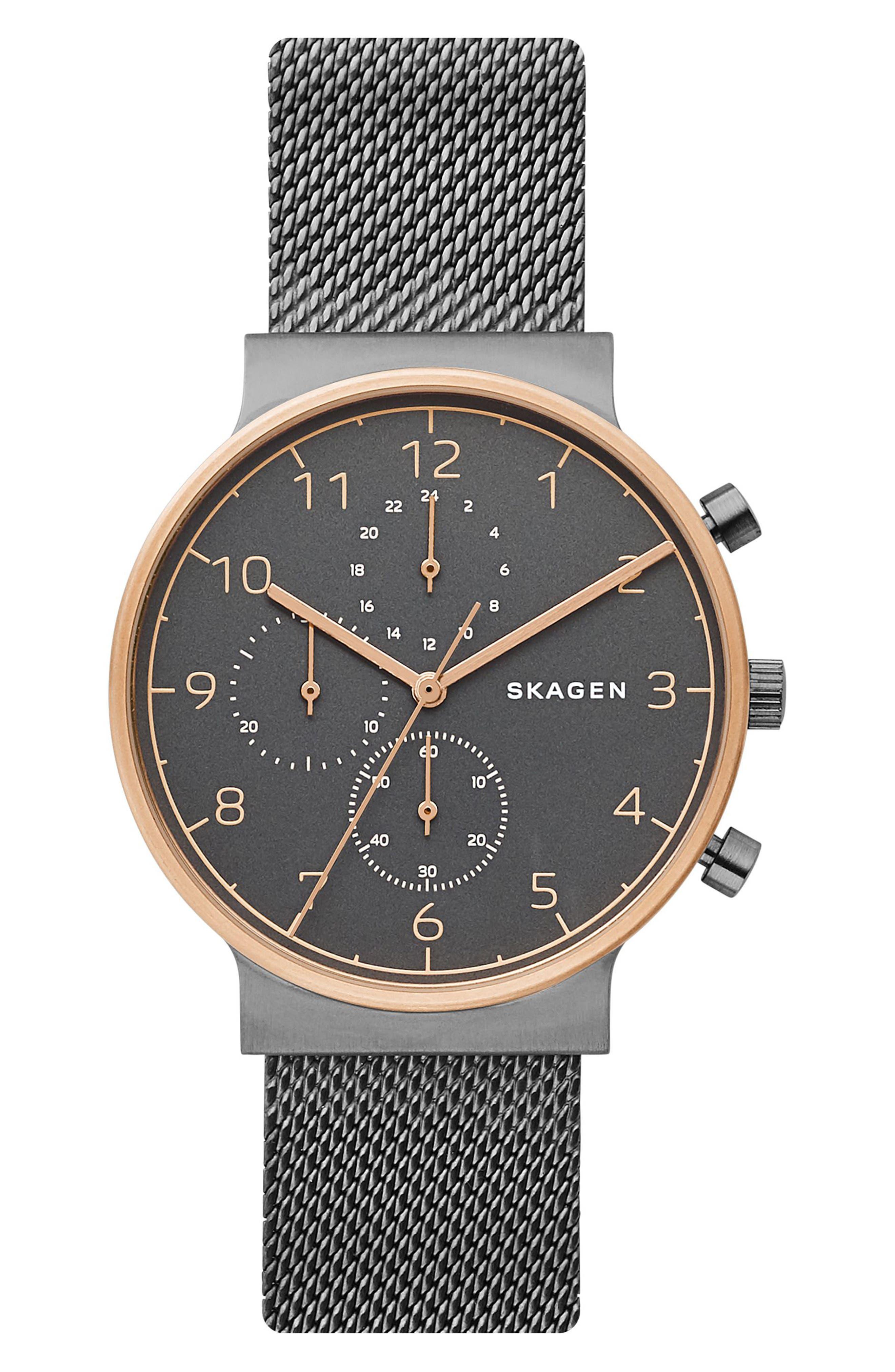 Skagen Ancher Chronograph Mesh Strap Watch, 40mm
