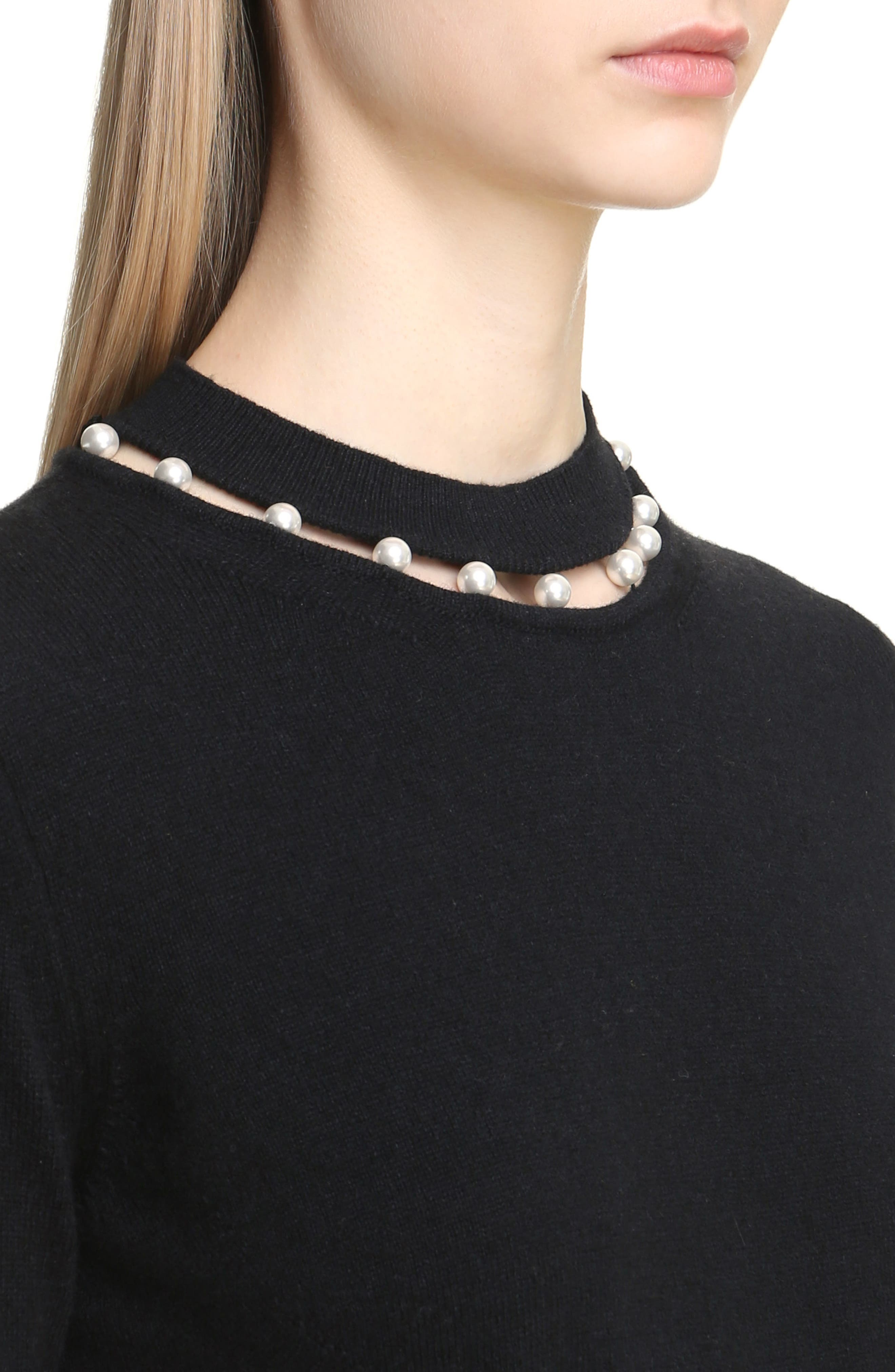 Imitation Pearl Inset Wool Blend Sweater,                             Alternate thumbnail 5, color,                             Black