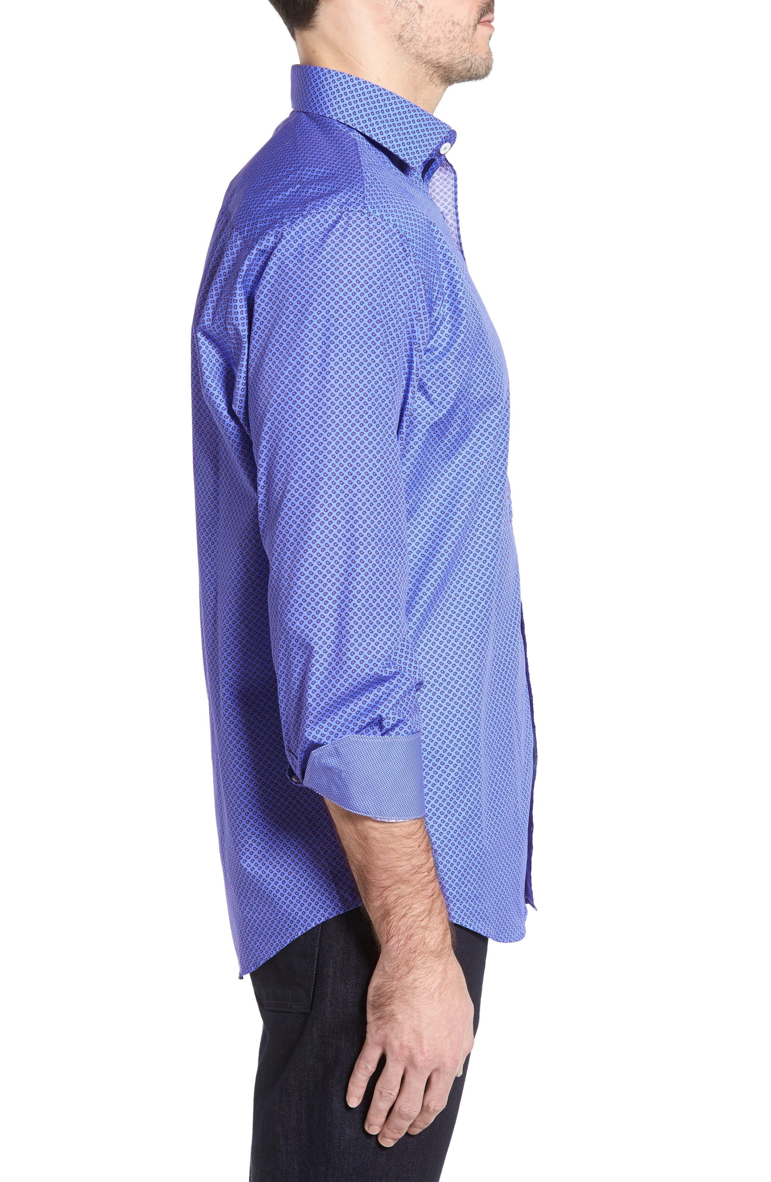 Classic Fit Paisley Print Sport Shirt,                             Alternate thumbnail 3, color,                             Classic Blue