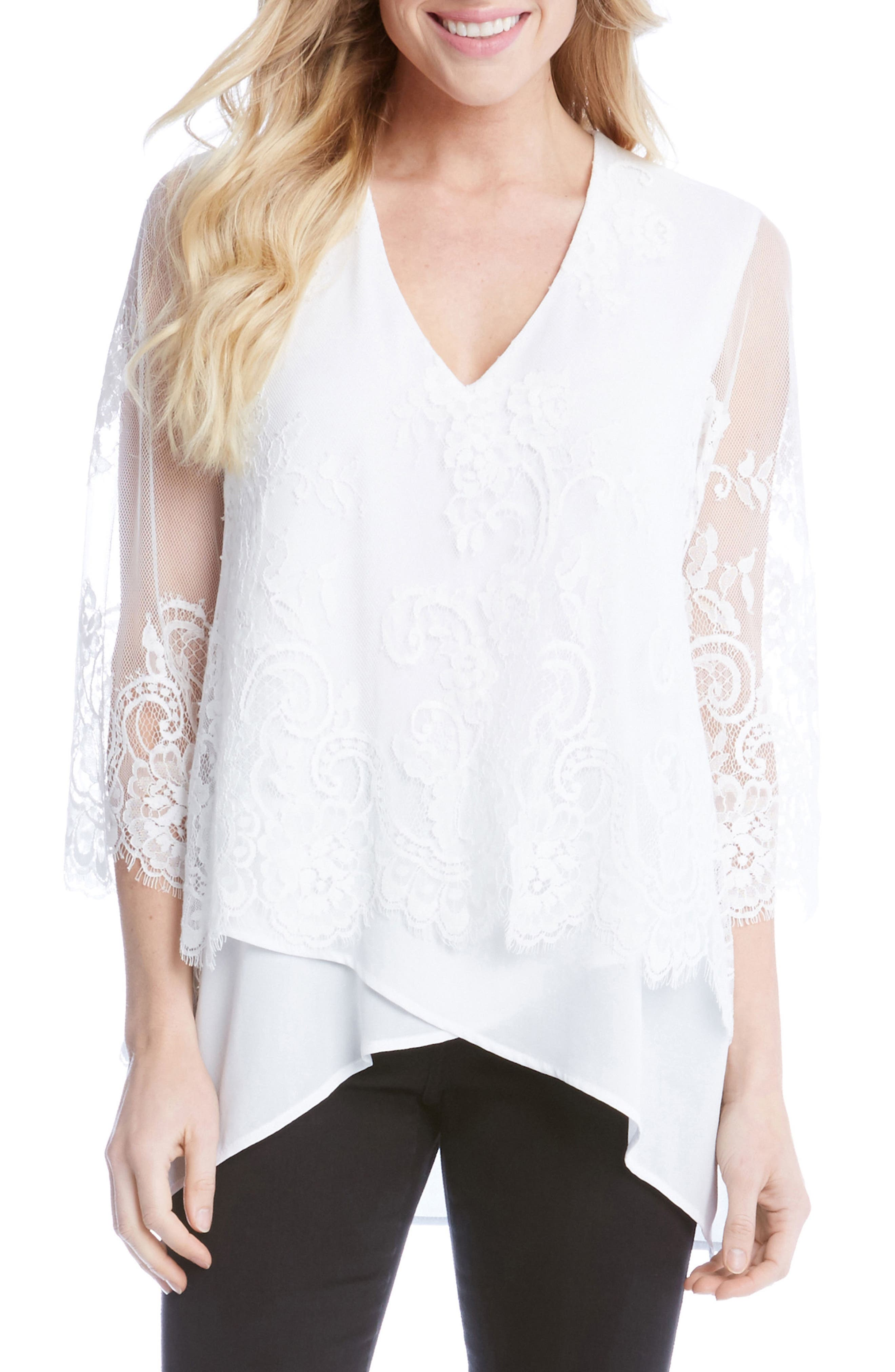 Lace Overlay Asymmetrical Top,                             Main thumbnail 1, color,                             Off White