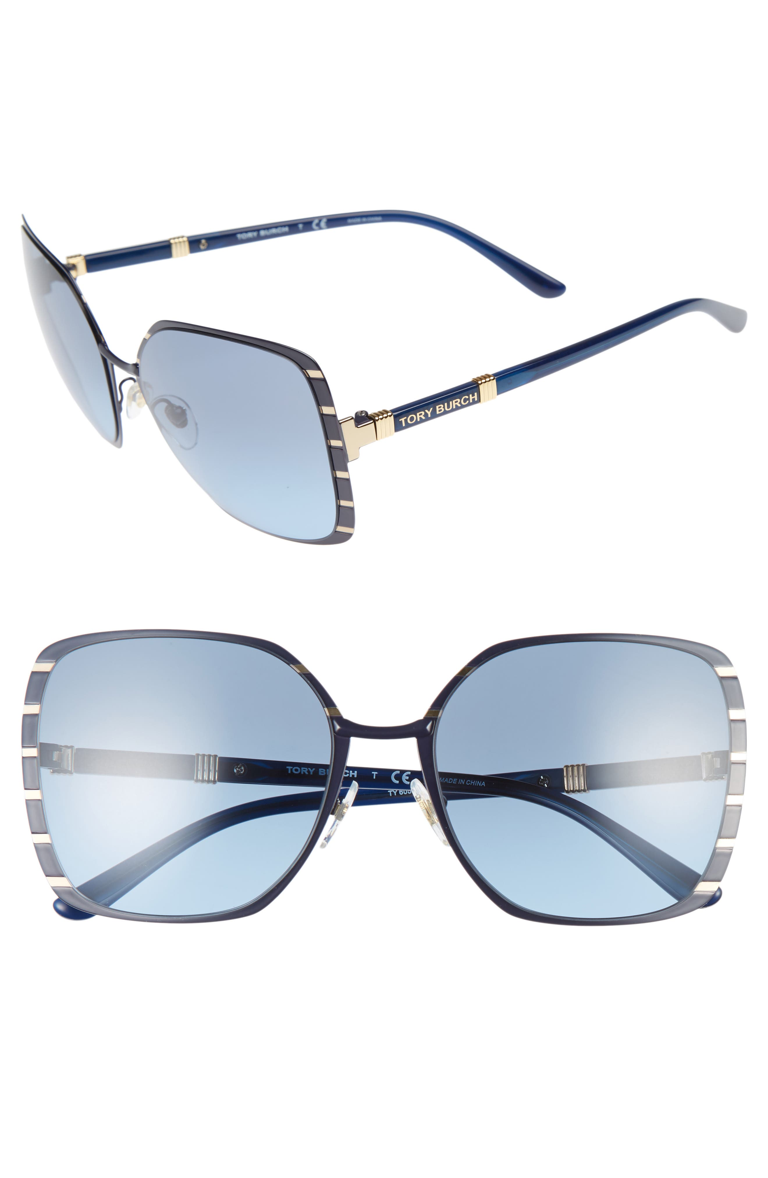 Alternate Image 1 Selected - Tory Burch 57mm Gradient Square Sunglasses