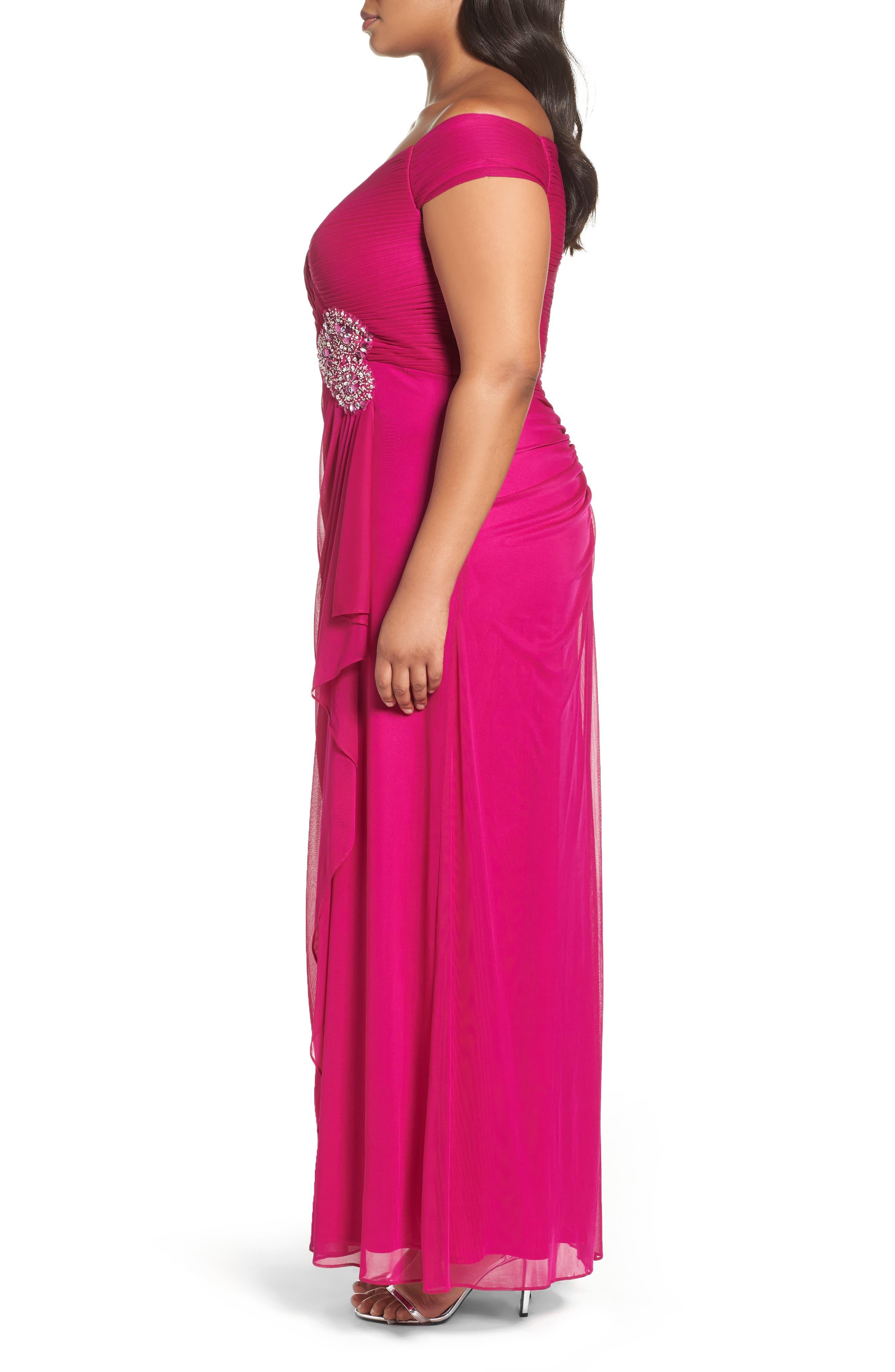 Alternate Image 3  - Alex Evenings Embellished Off the Shoulder Gown (Plus Size)