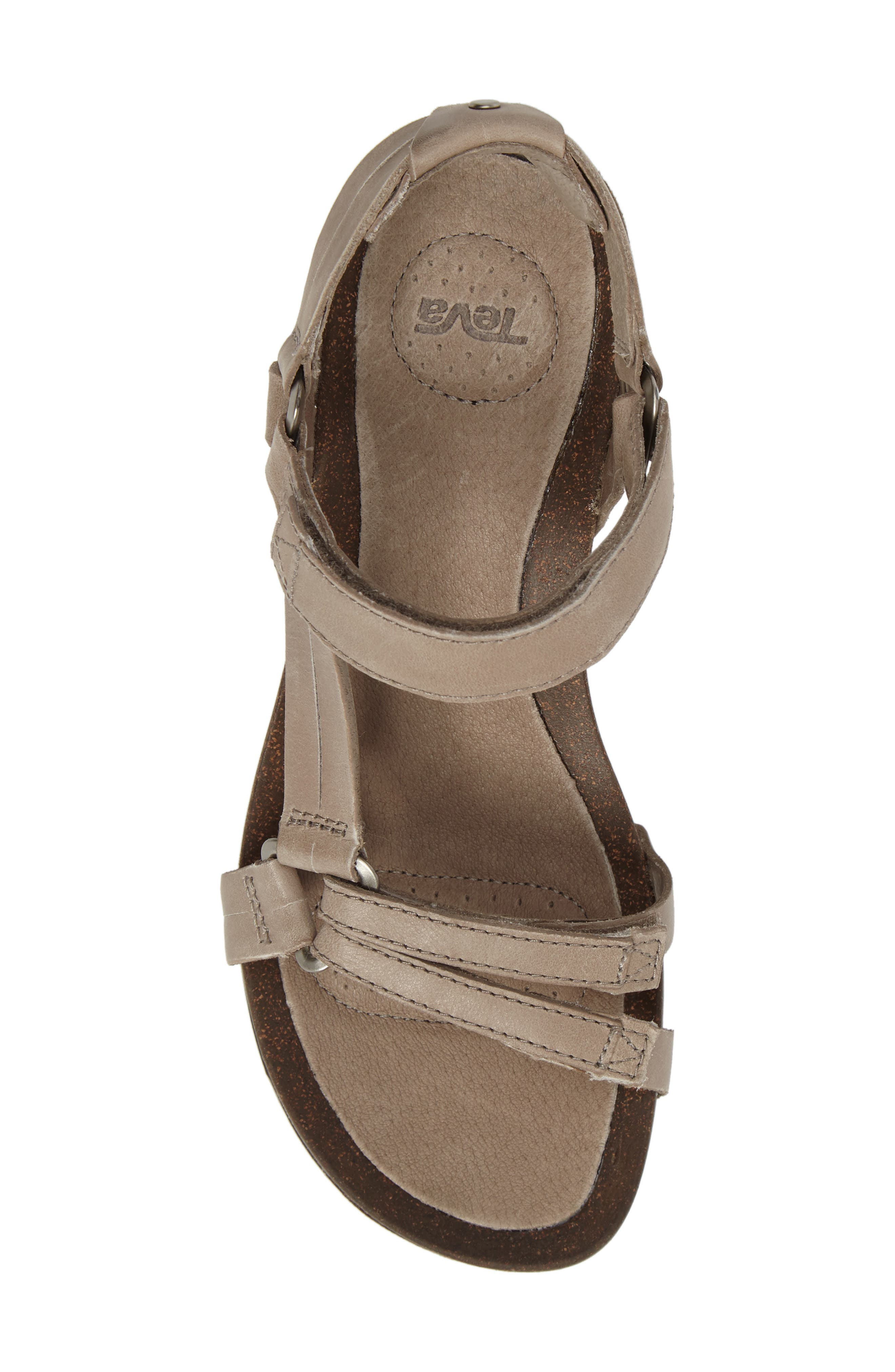Ysidro Wedge Sandal,                             Alternate thumbnail 5, color,                             Taupe Leather