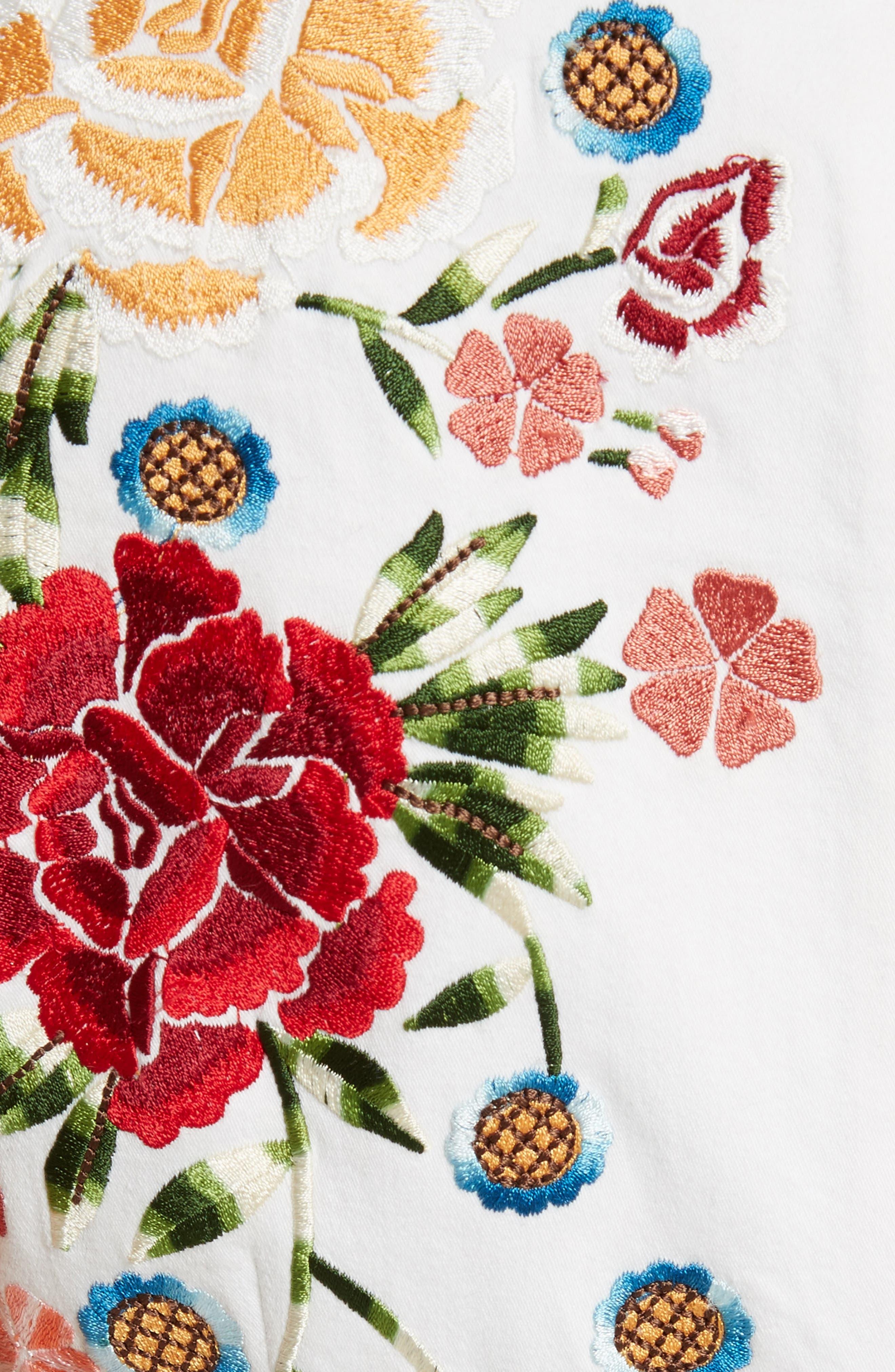 Nat Embroidered Minidress,                             Alternate thumbnail 5, color,                             Cream Multi