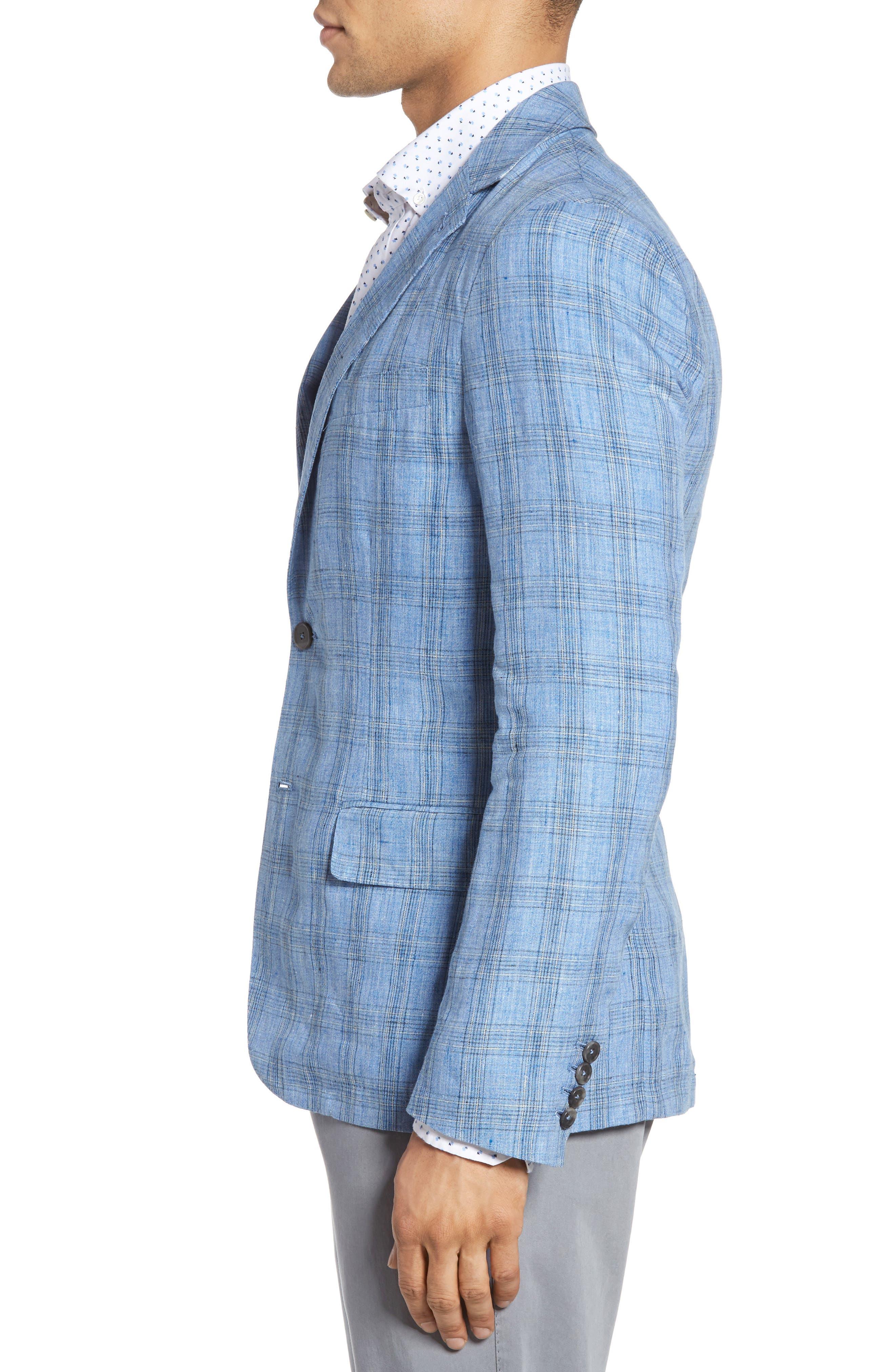 Laxus Plaid Linen Sport Coat,                             Alternate thumbnail 3, color,                             Light Blue
