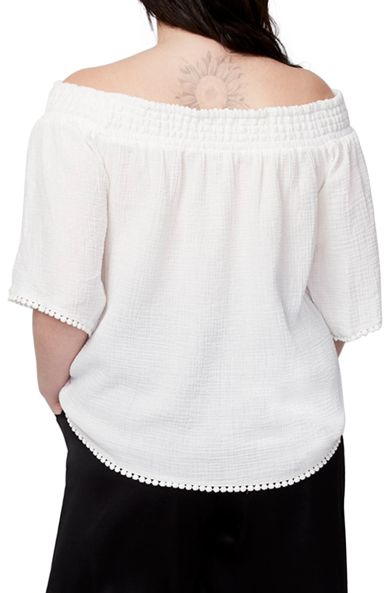 Smocked Off the Shoulder Top,                             Alternate thumbnail 2, color,                             White