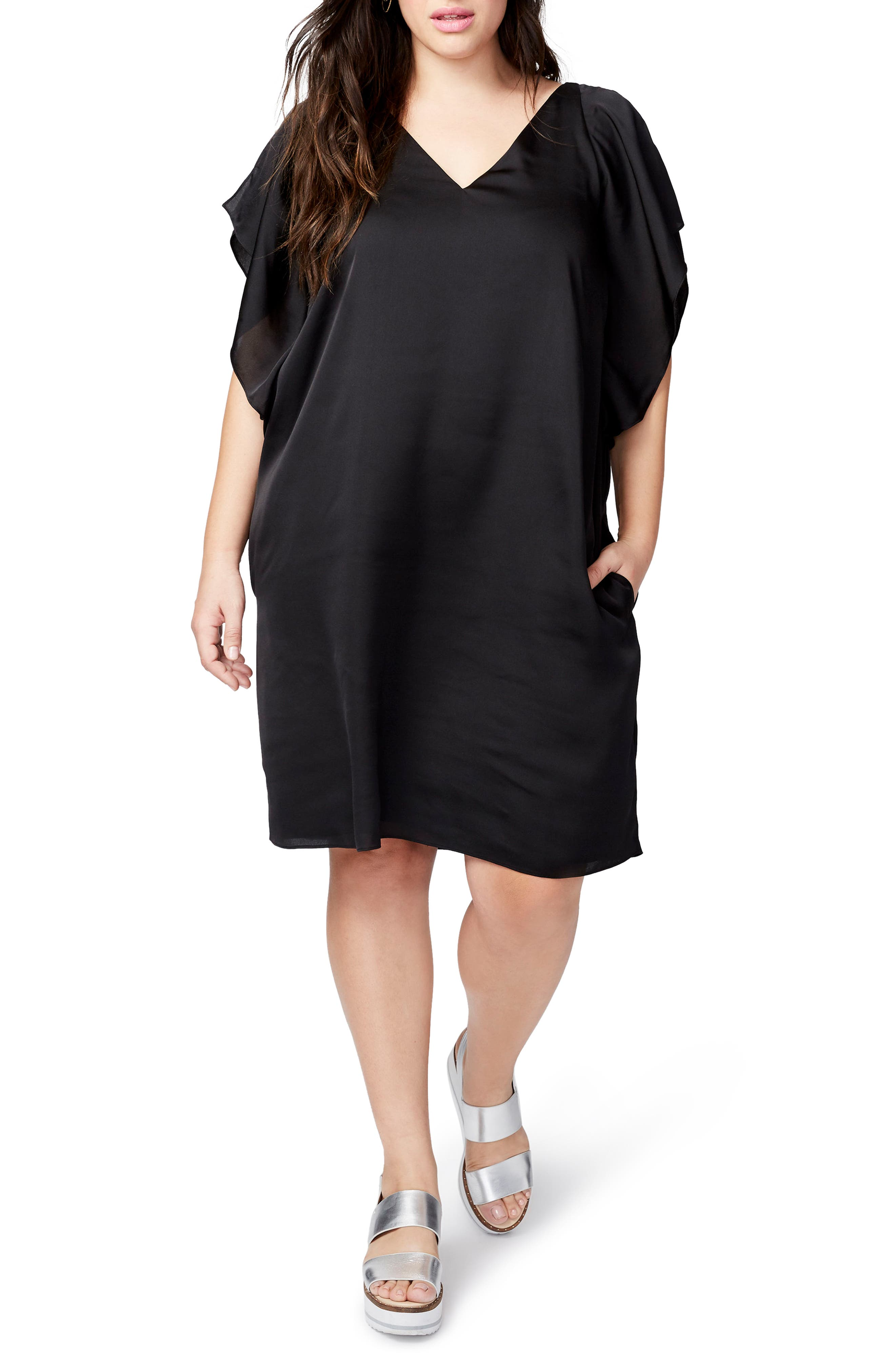 Flutter Sleeve Shift Dress,                         Main,                         color, Black