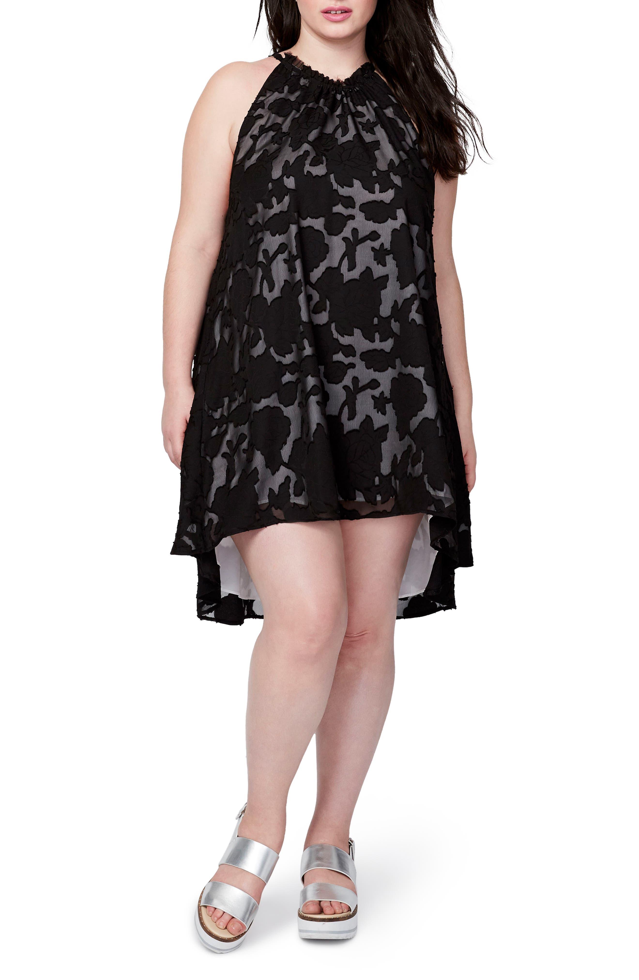 Jacqueline Burnout Swing Dress,                             Main thumbnail 1, color,                             Black
