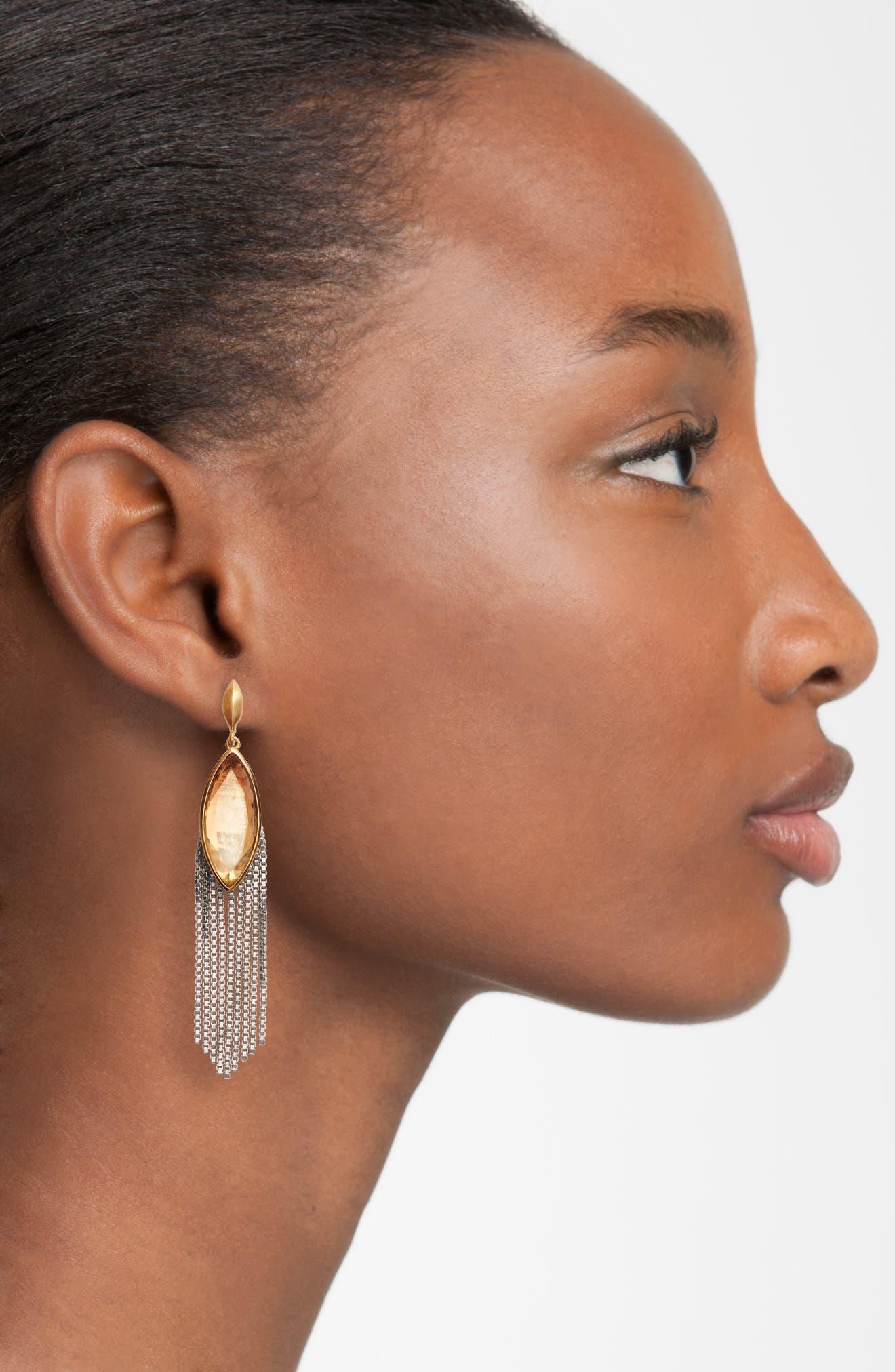 Ornate Semiprecious Stone Fringe Earrings,                             Alternate thumbnail 2, color,                             Lemon Quartz