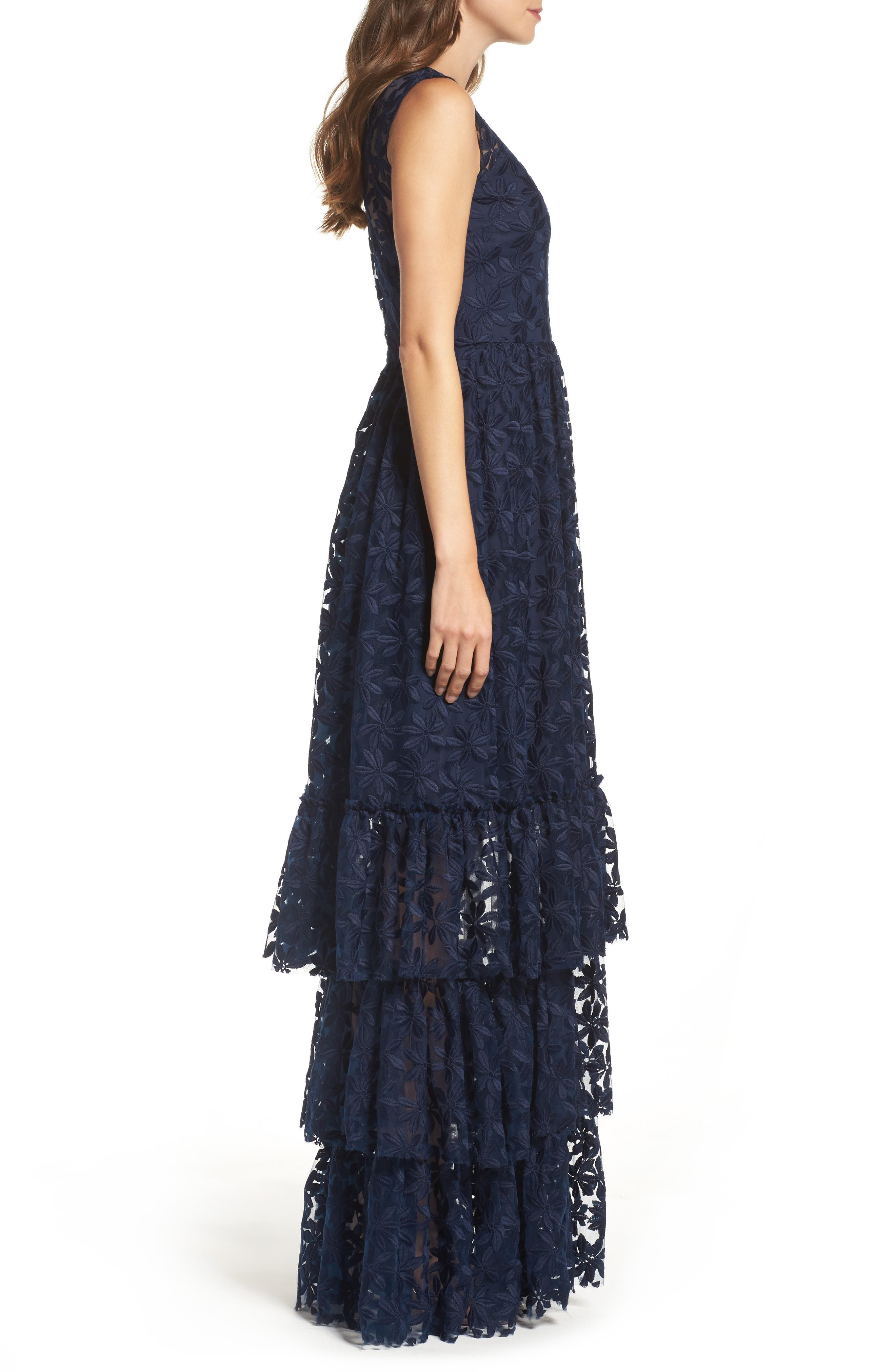 Alternate Image 3  - Shoshanna Fowler Tiered Lace Gown