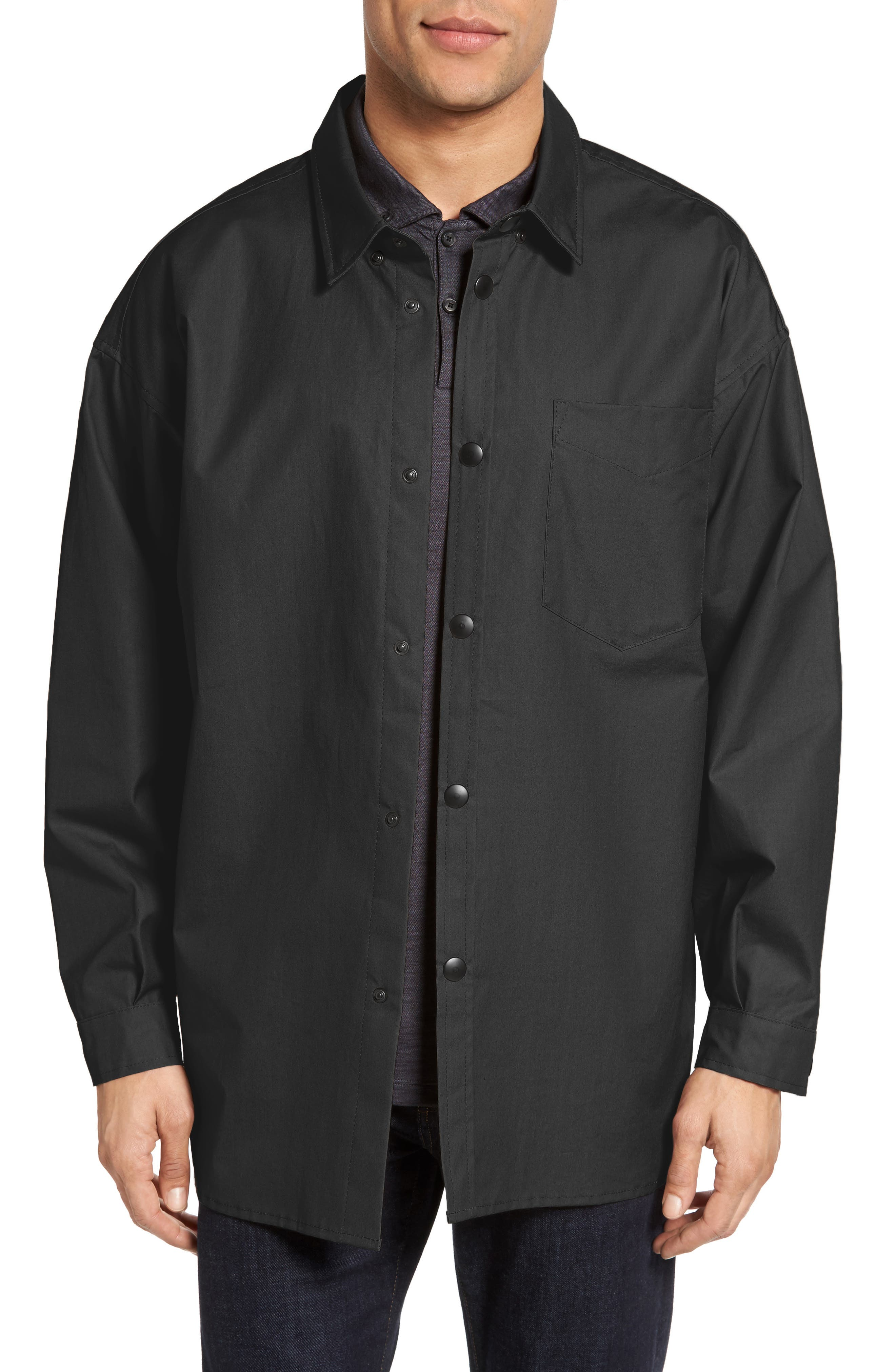 Lerum Relaxed Fit Shirt Jacket,                             Main thumbnail 1, color,                             Black