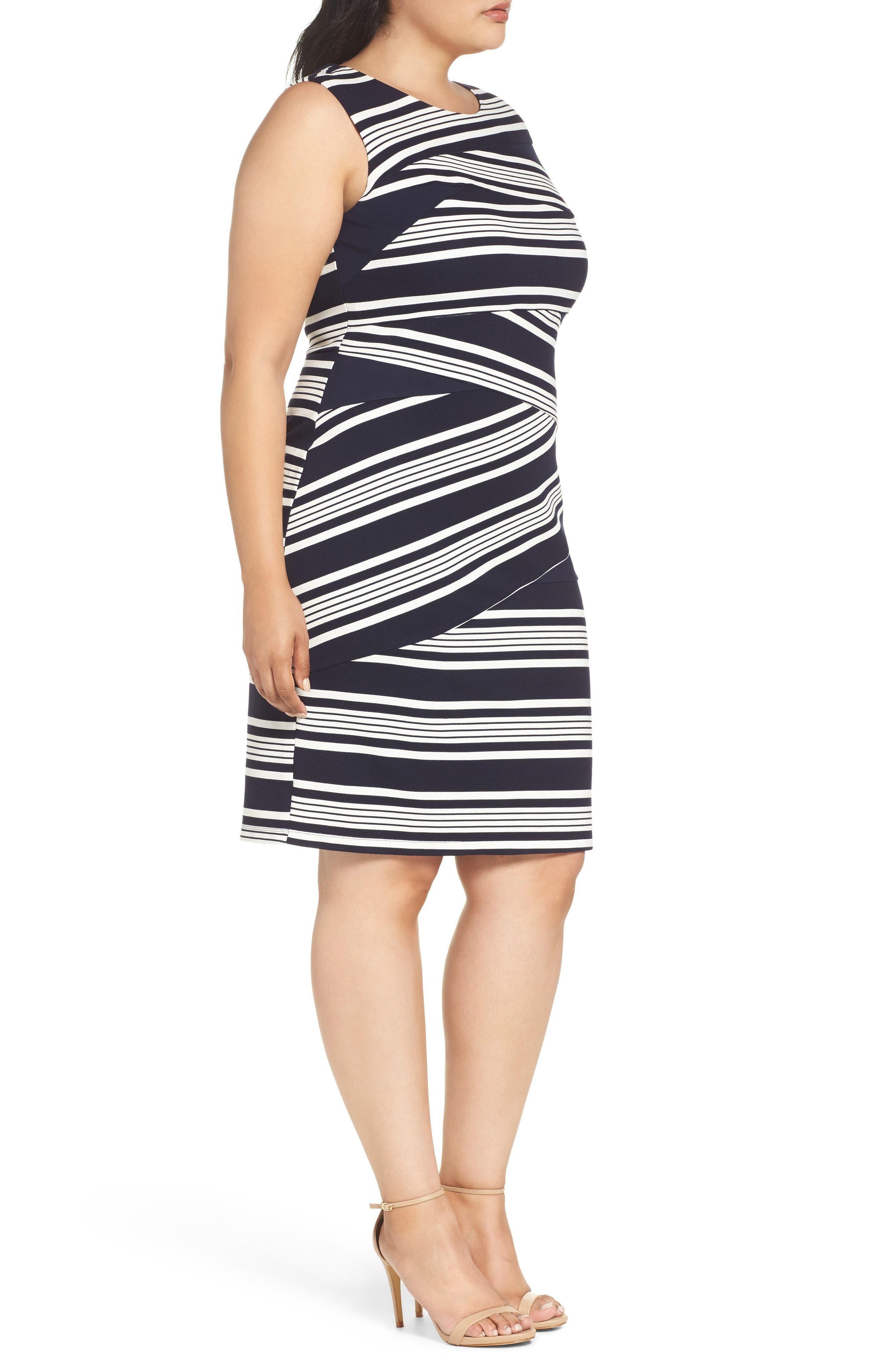 Alternate Image 4  - Adrianna Papell Stripe Body-Con Dress (Plus Size)