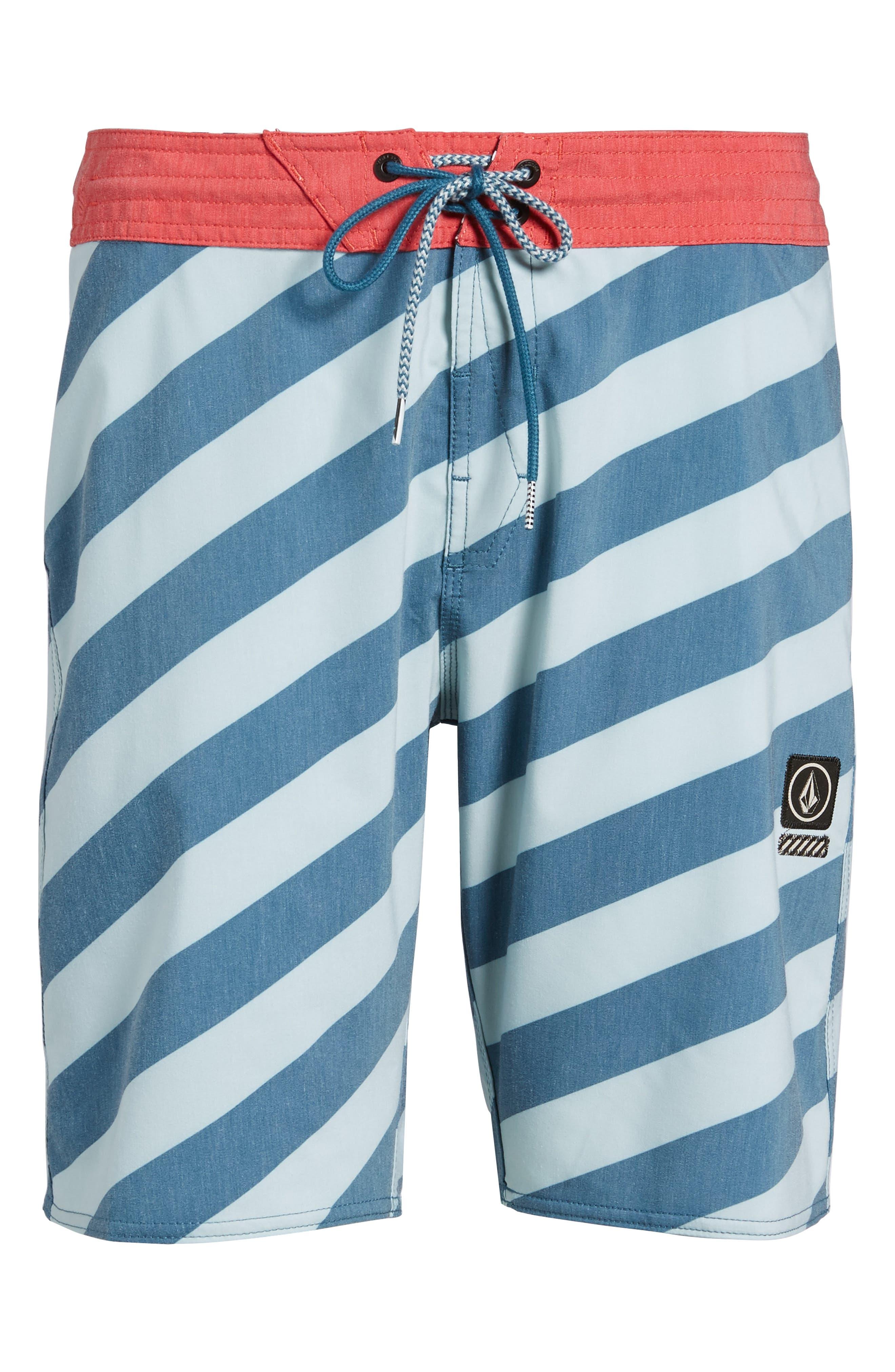 Stripey Slinger Board Shorts,                             Alternate thumbnail 6, color,                             Flight Blue