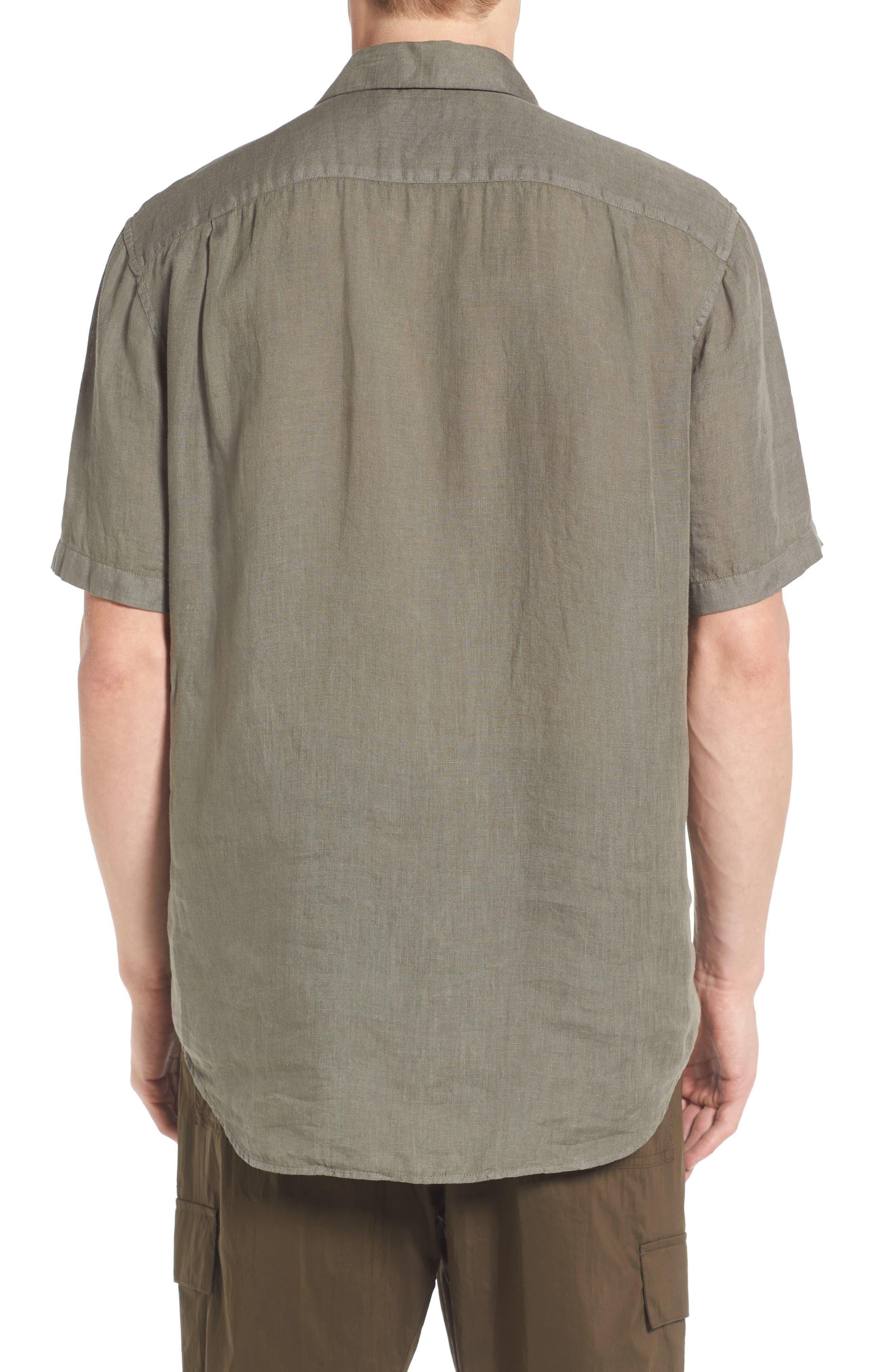 Trim Fit Linen Sport Shirt,                             Alternate thumbnail 2, color,                             Desert Green