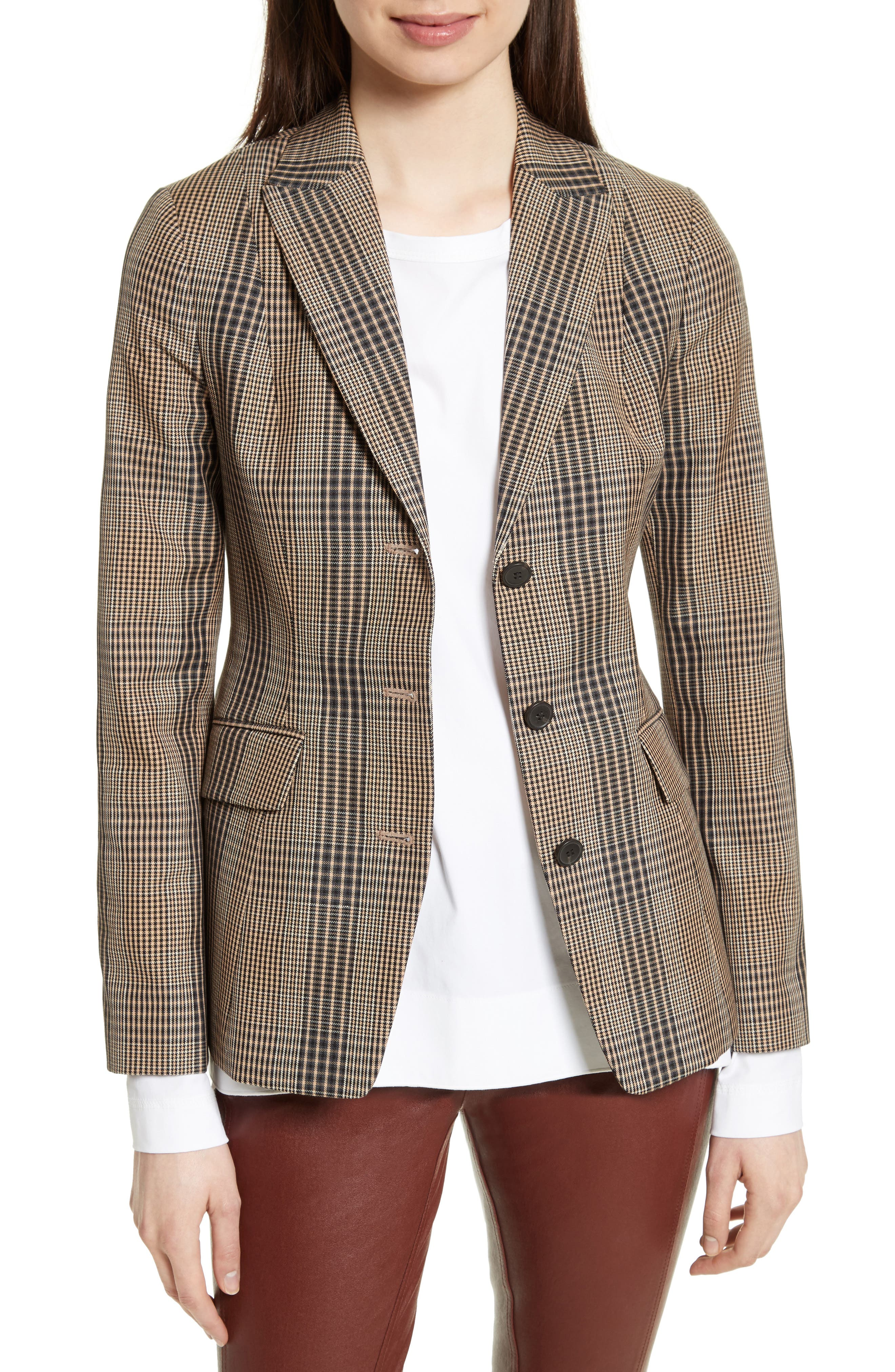 Alternate Image 1 Selected - Theory Faringdon Check Riding Jacket