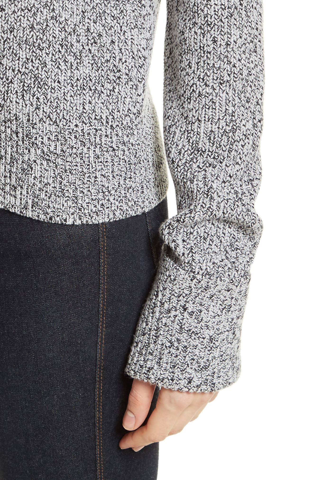Rib Cuff Marled Sweater,                             Alternate thumbnail 4, color,                             Black/ Ivory