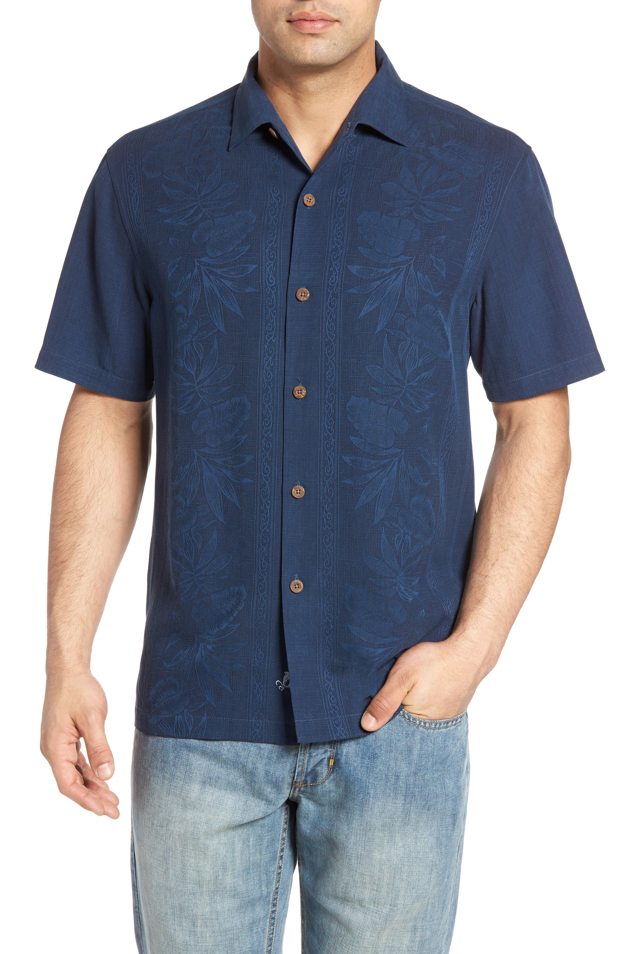Alternate Image 1 Selected - Tommy Bahama Pacific Standard Fit Floral Silk Camp Shirt