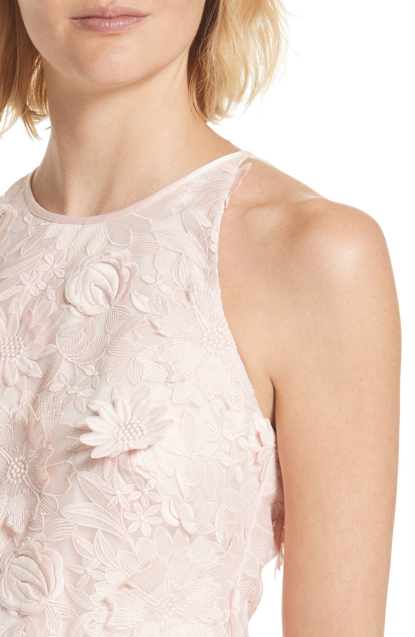 Sweetee Lace Skater Dress,                             Alternate thumbnail 4, color,                             Baby Pink