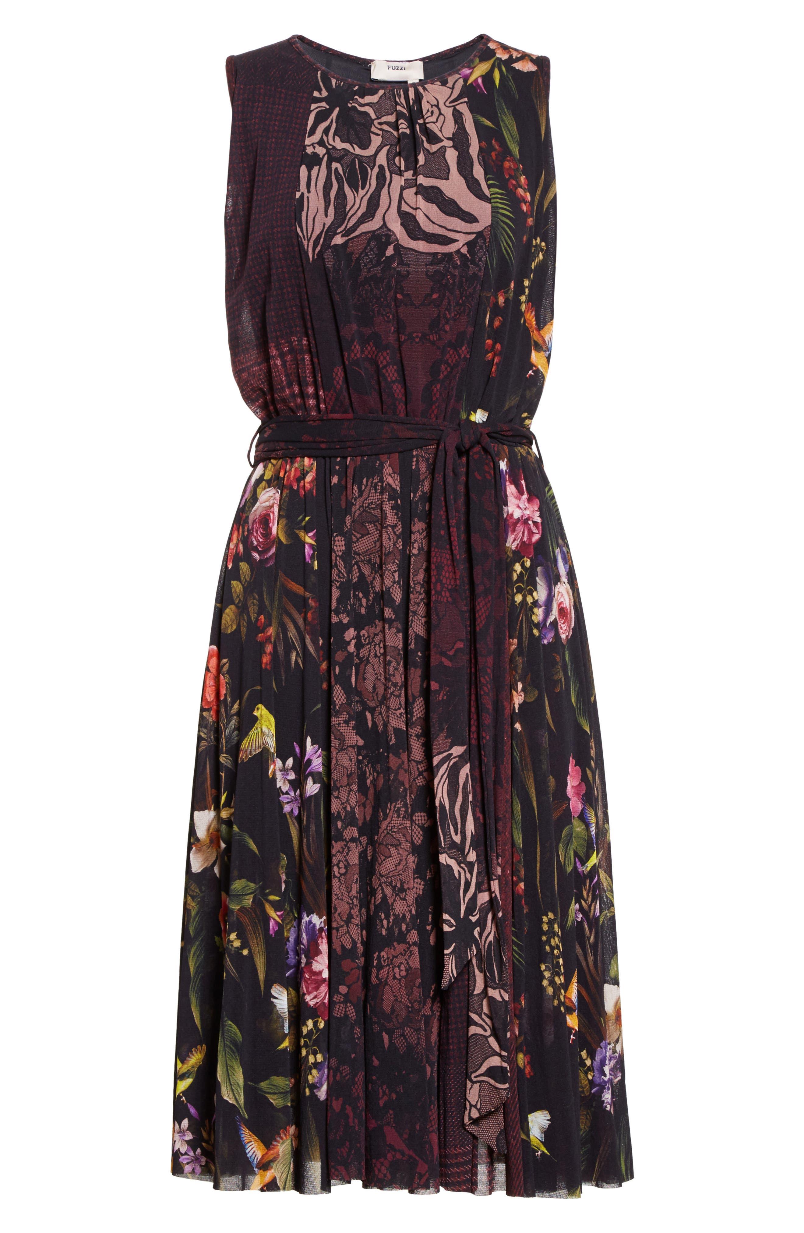 Belted Tulle Dress,                             Alternate thumbnail 4, color,                             Plum