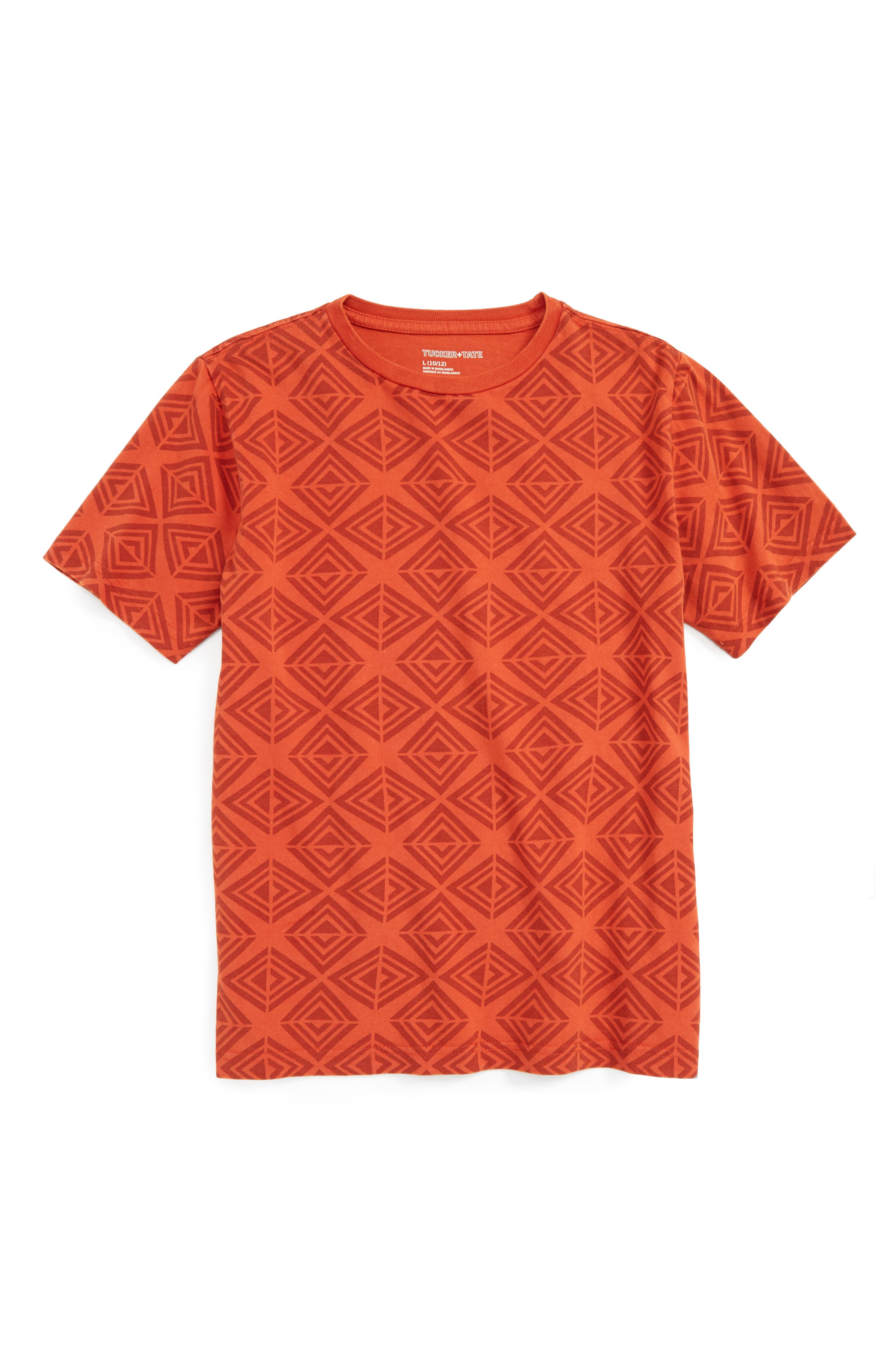 Geometric T-Shirt,                         Main,                         color, Rust Rooibos Geo Diamond