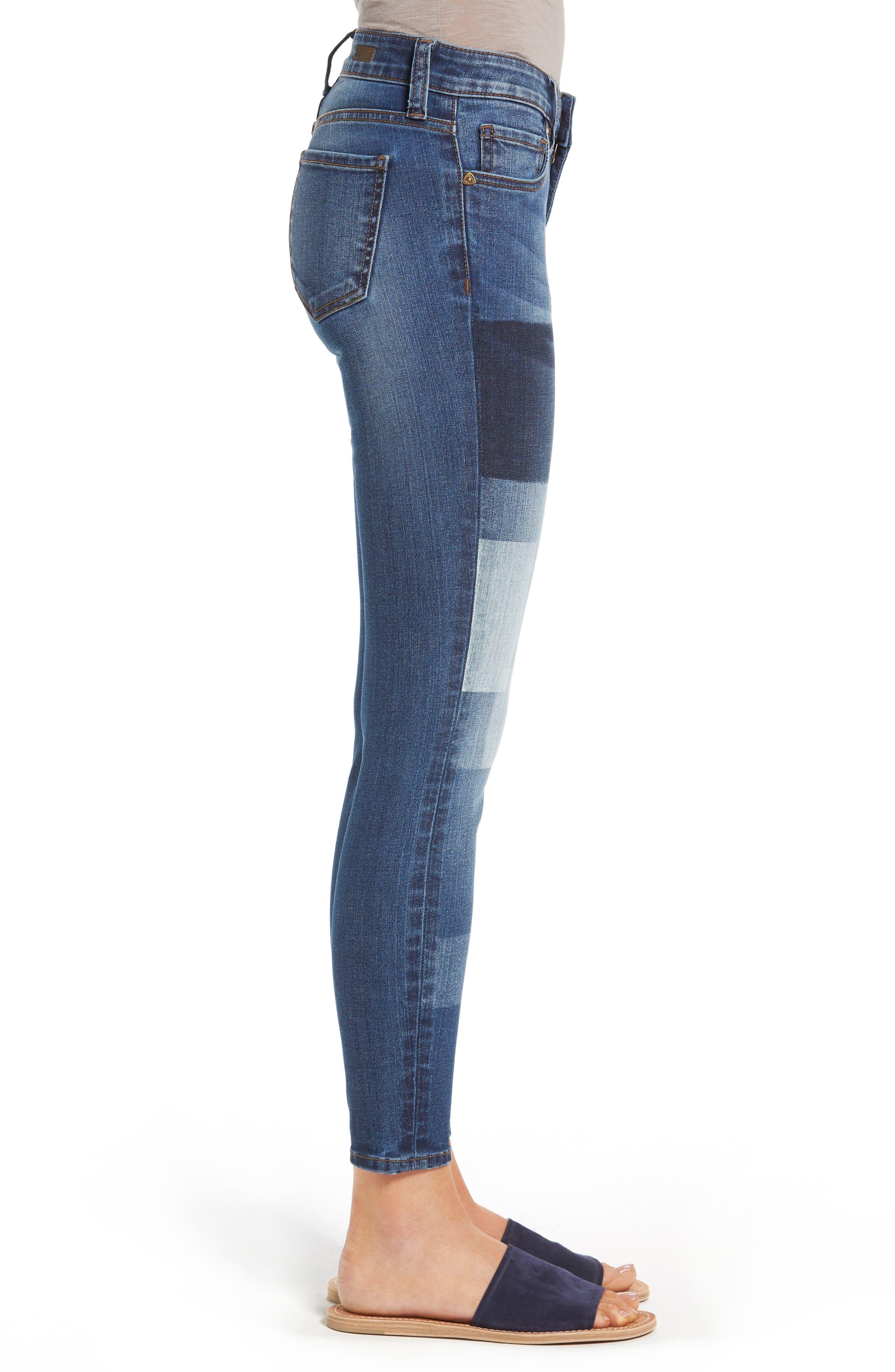 Patchwork Fade Skinny Jeans,                             Alternate thumbnail 3, color,                             Coequal / Dark Stone