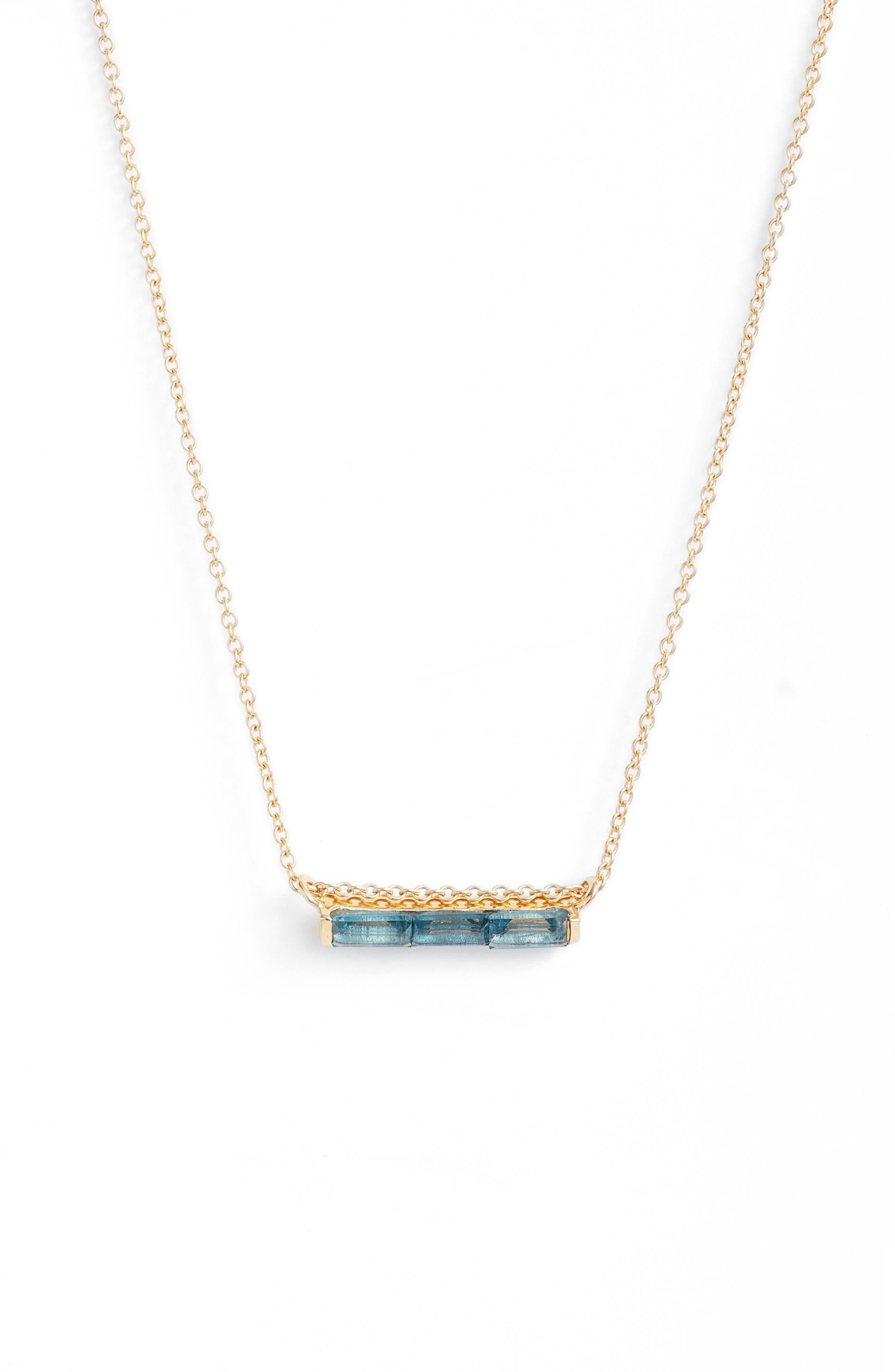 Channel Set Semiprecious Stone Necklace,                         Main,                         color, Blue Topaz/ Gold