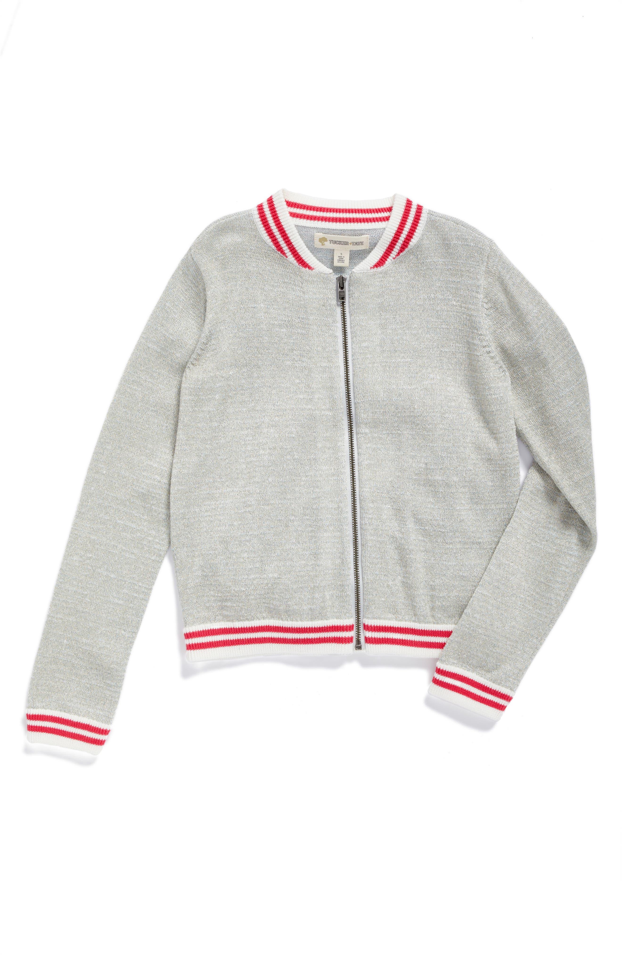 Main Image - Tucker + Tate Bomber Sweater (Toddler Girls, Little Girls & Big Girls)