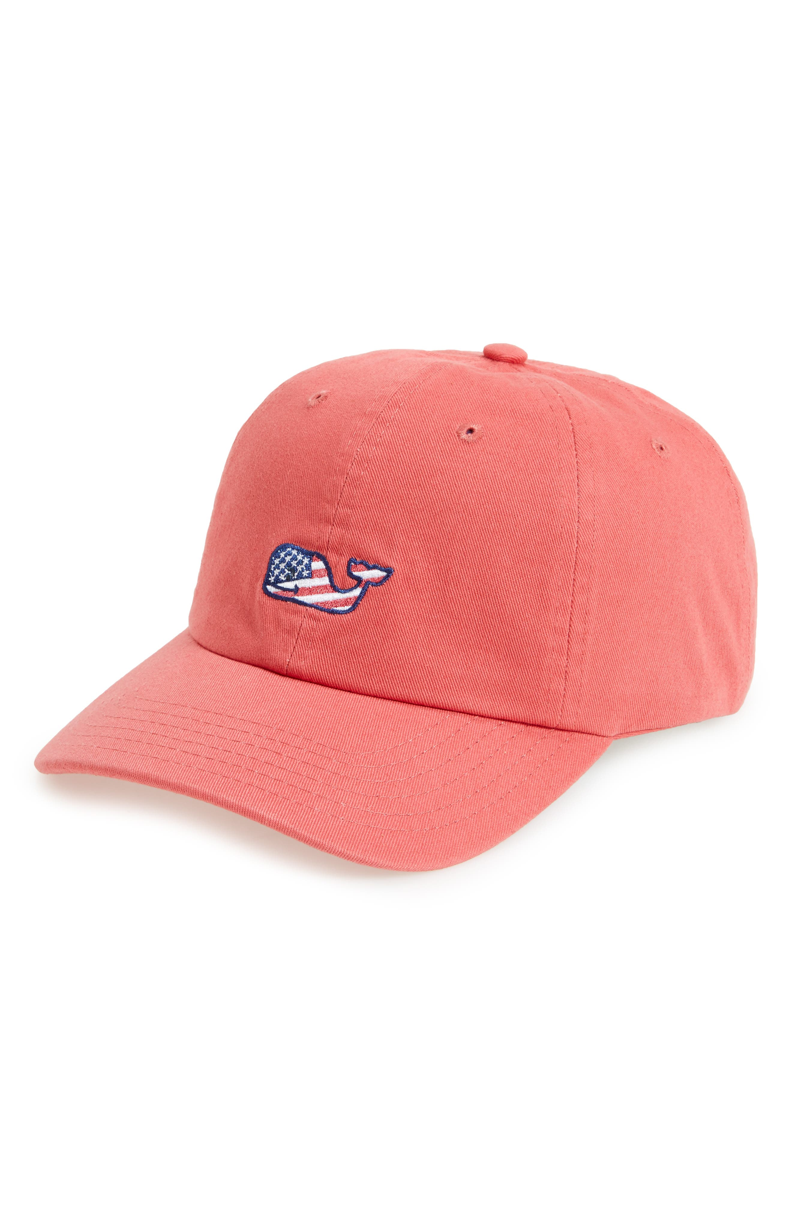 Flag Whale Logo Baseball Cap,                         Main,                         color, Jetty Red
