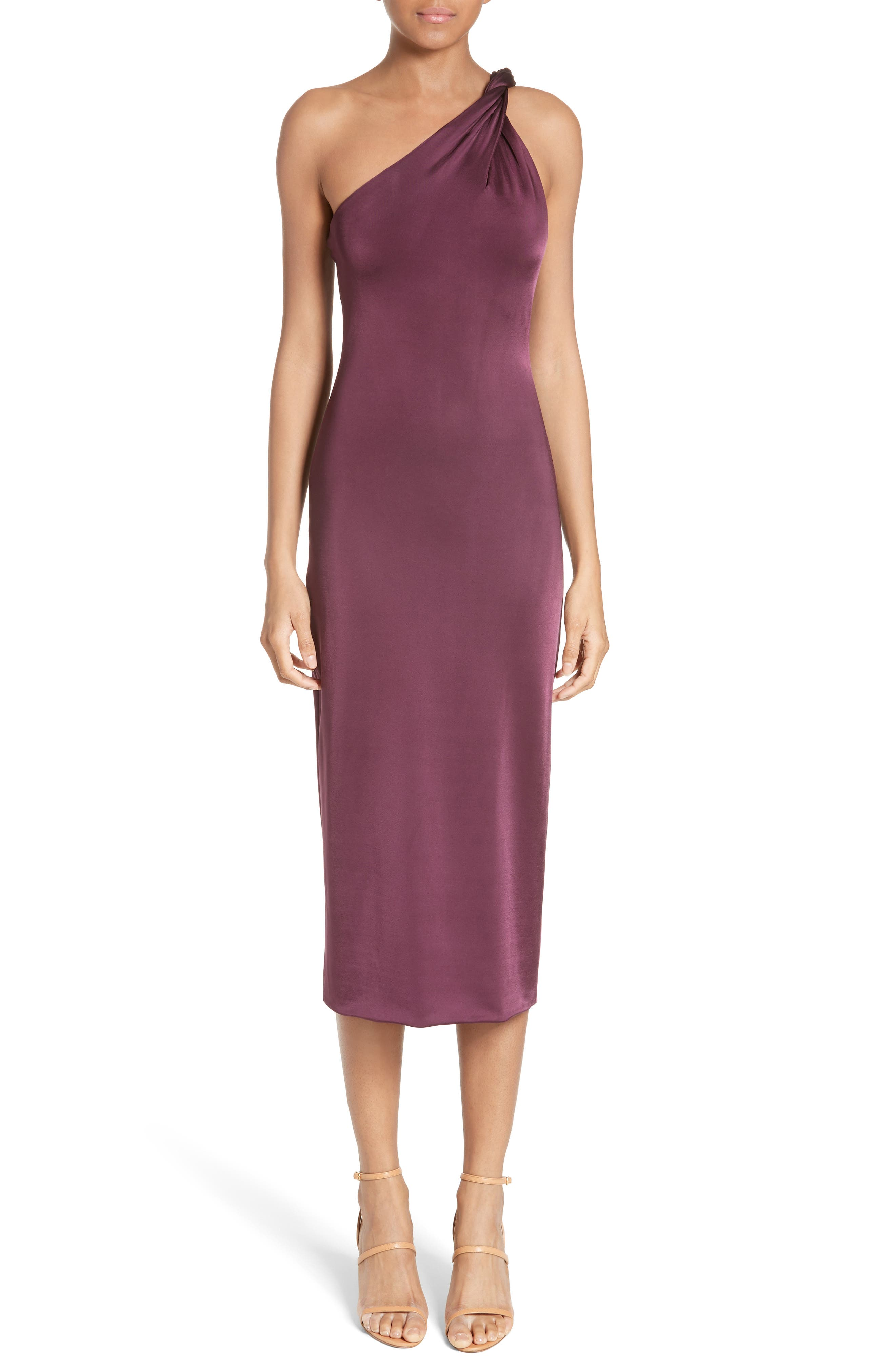 Twisted Jersey One-Shoulder Dress,                         Main,                         color, Currant