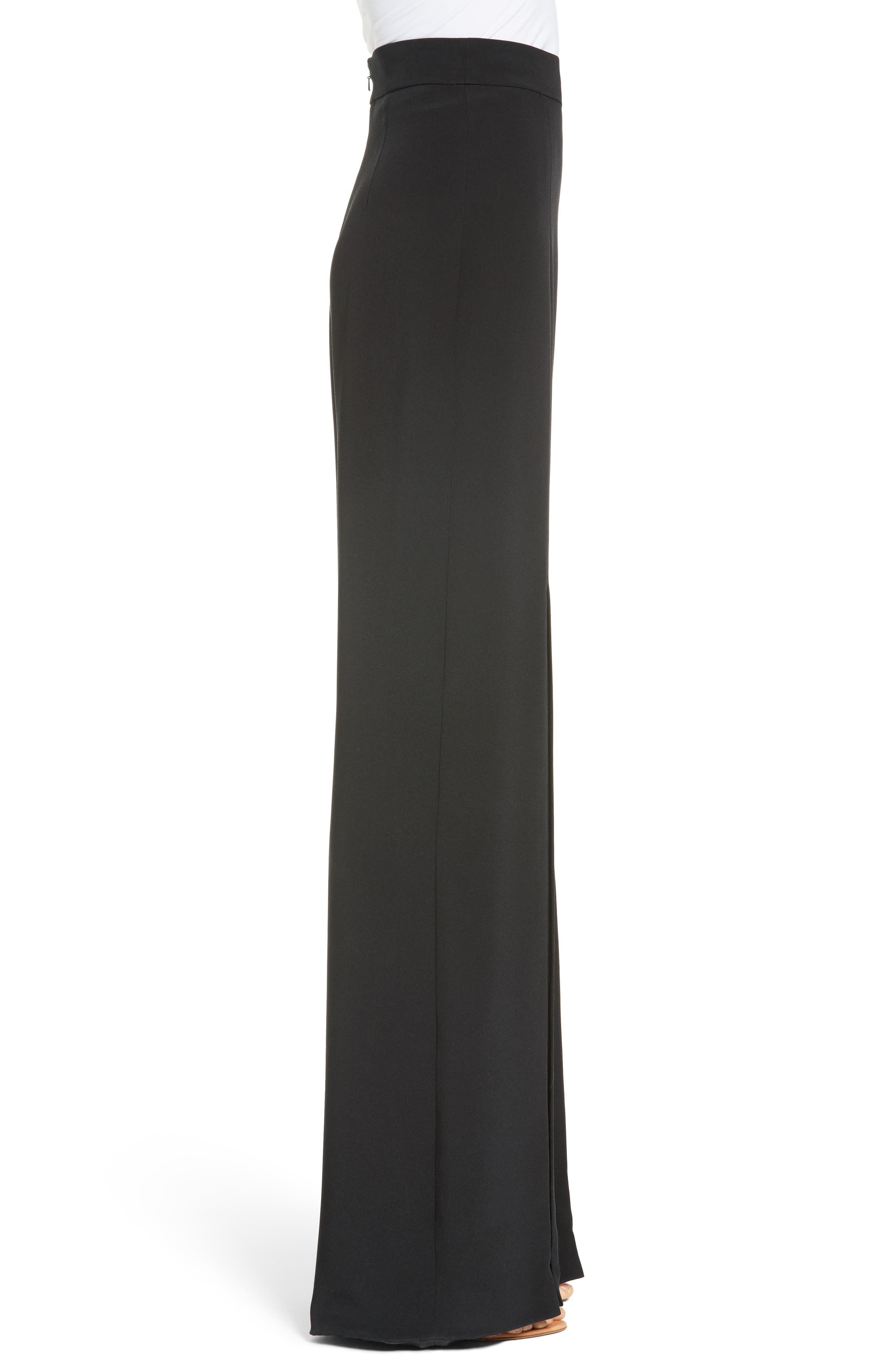 Slit Silk High Waisted Pants,                             Alternate thumbnail 4, color,                             Black