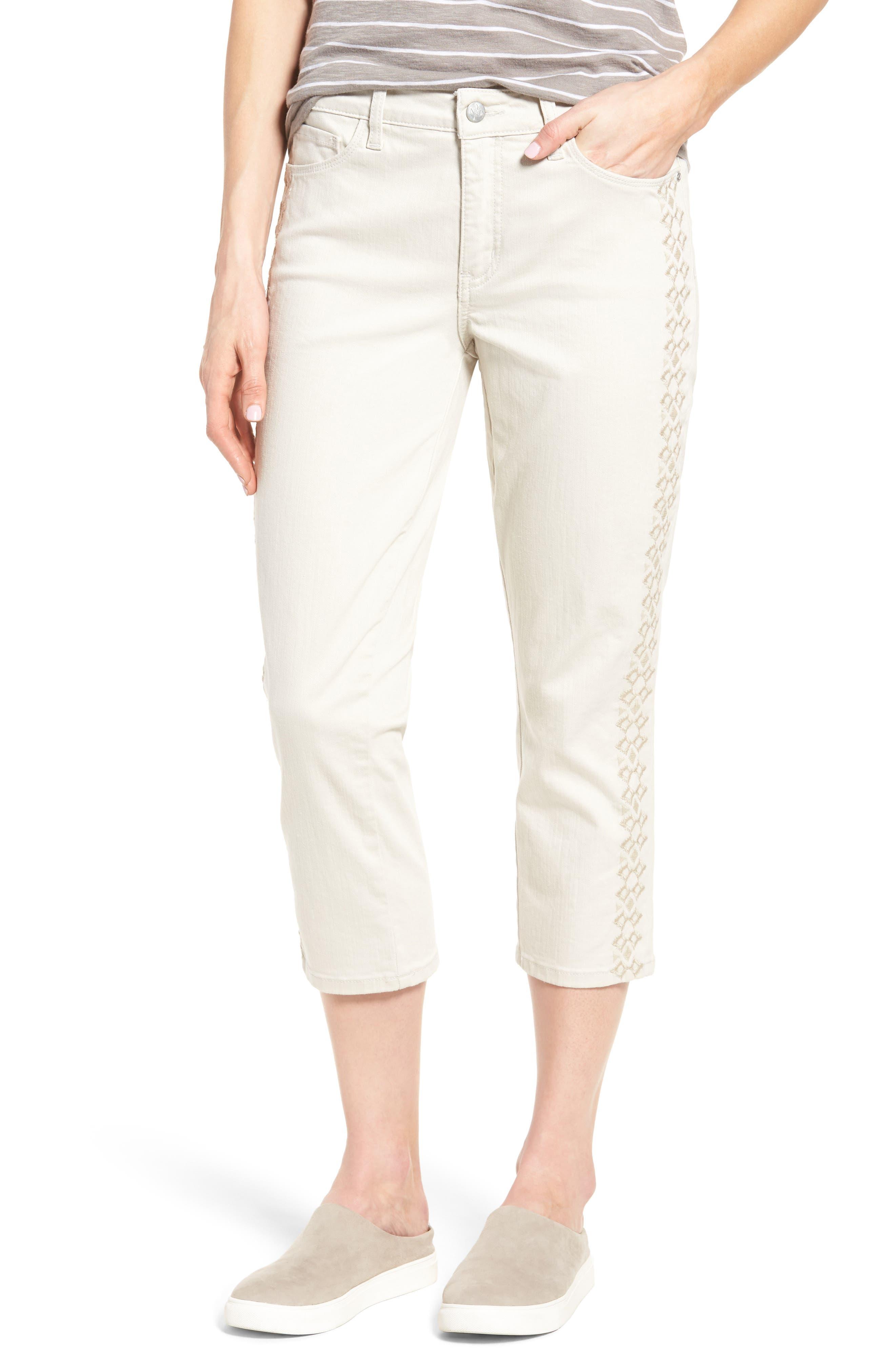 Main Image - NYDJ Alina Embroidered Stretch Capri Jeans