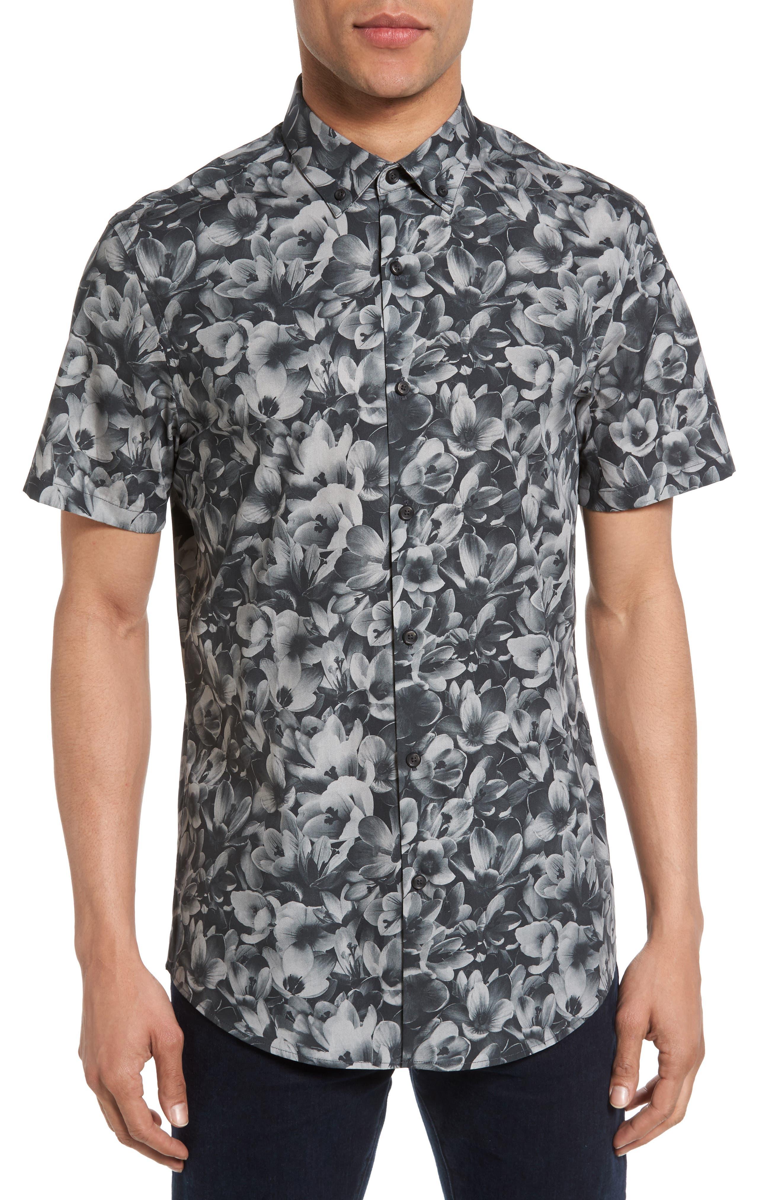 Trim Fit Non-Iron Print Sport Shirt,                         Main,                         color, Navy Night Floral Print