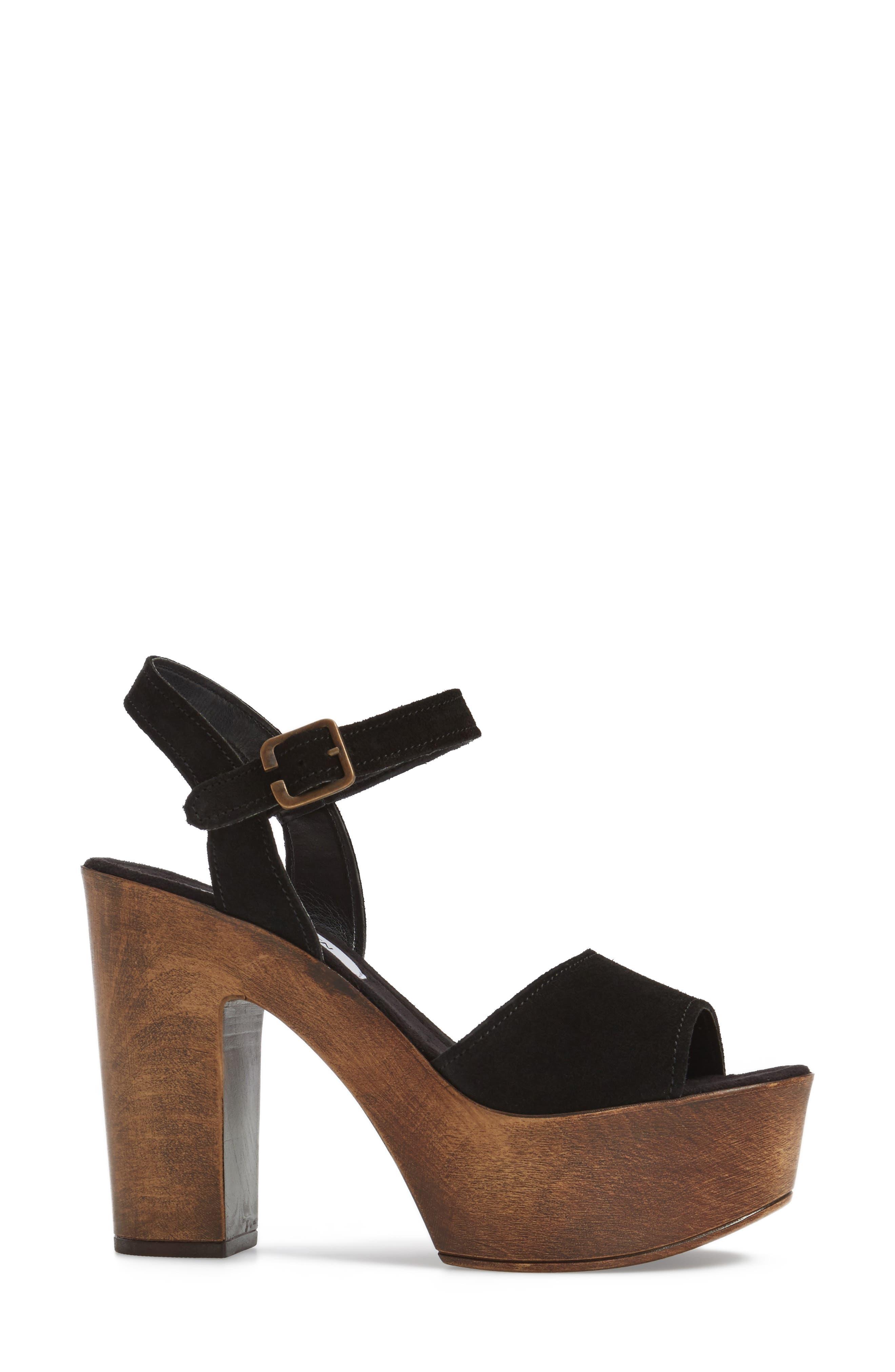 Lulla Platform Sandal,                             Alternate thumbnail 3, color,                             Black Suede