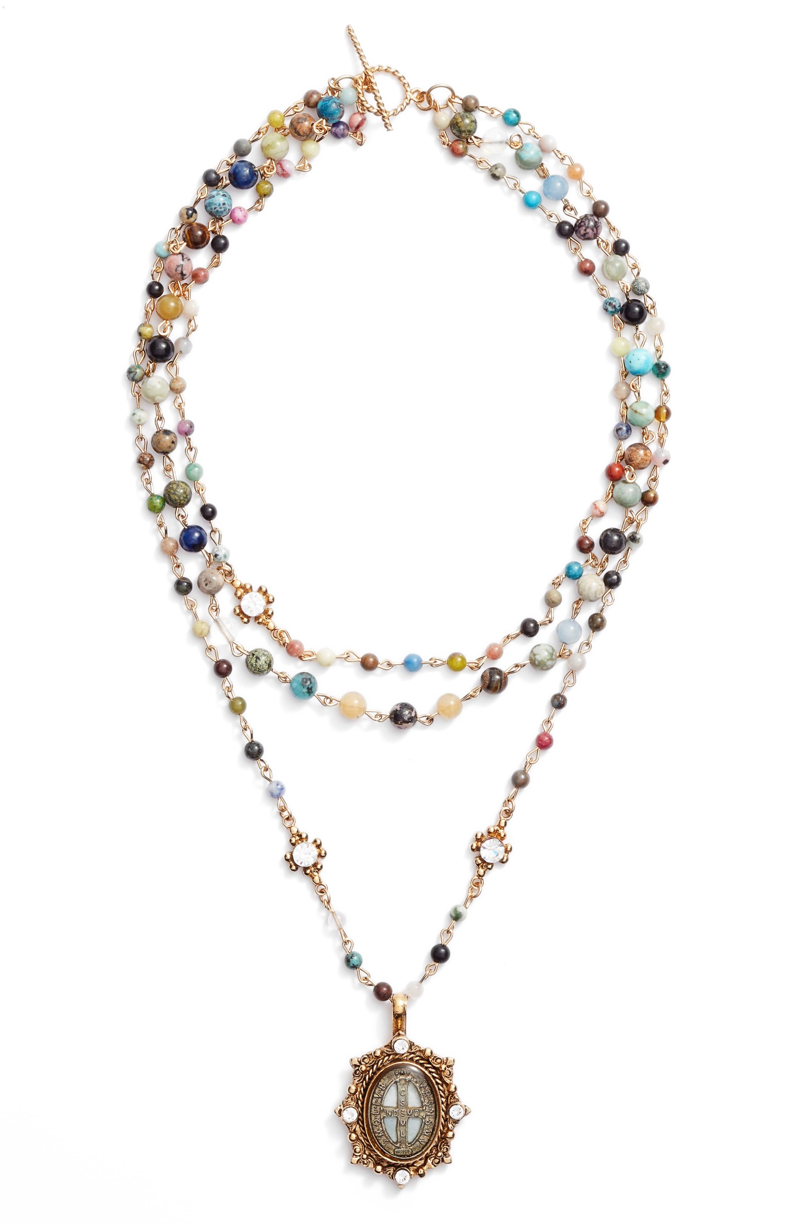 Magdalena Multistrand Necklace,                         Main,                         color, Gold/ Mixed Quartz