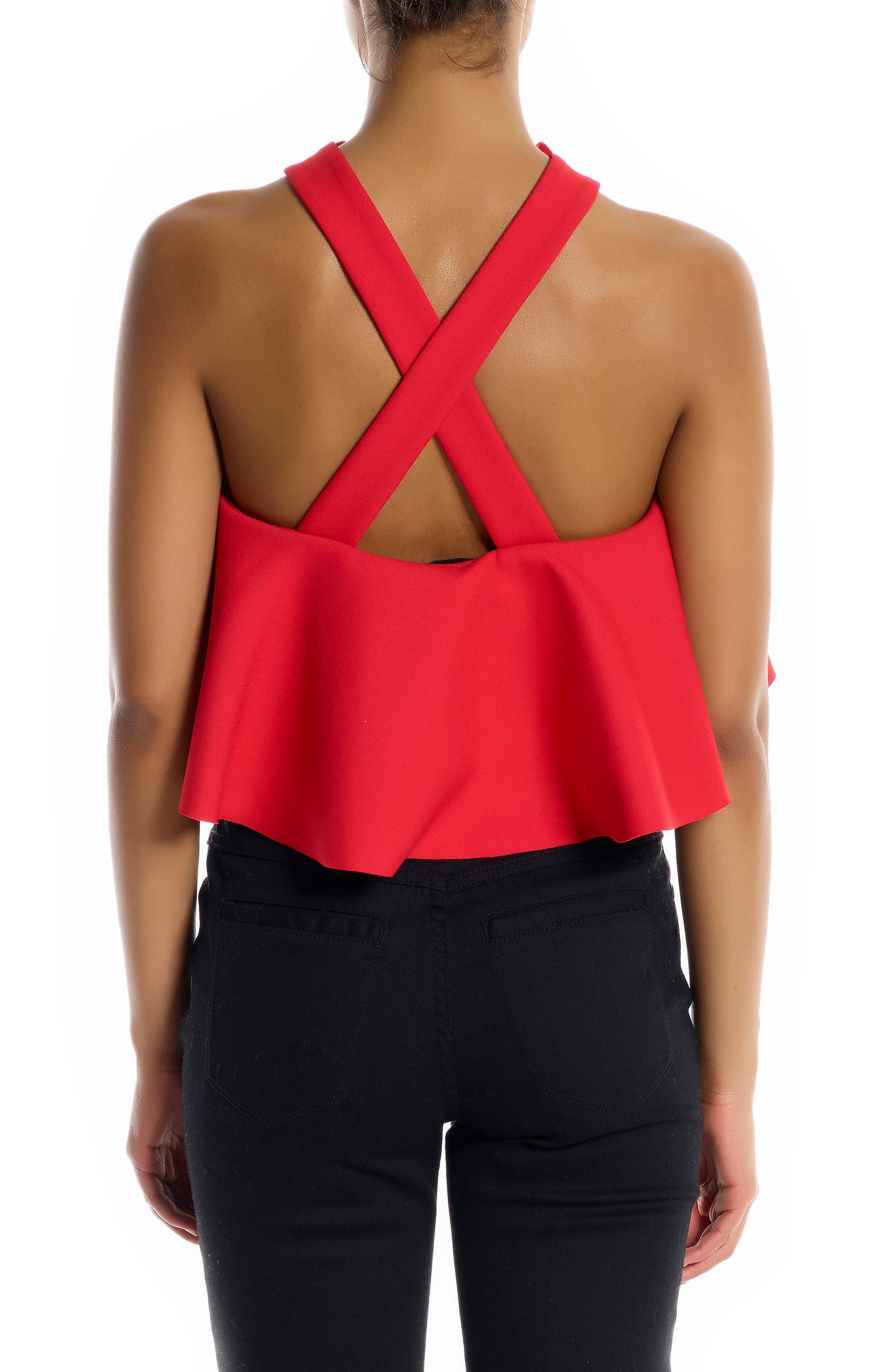 Overlap Ruffle Crop Top,                             Alternate thumbnail 2, color,                             Bright Red