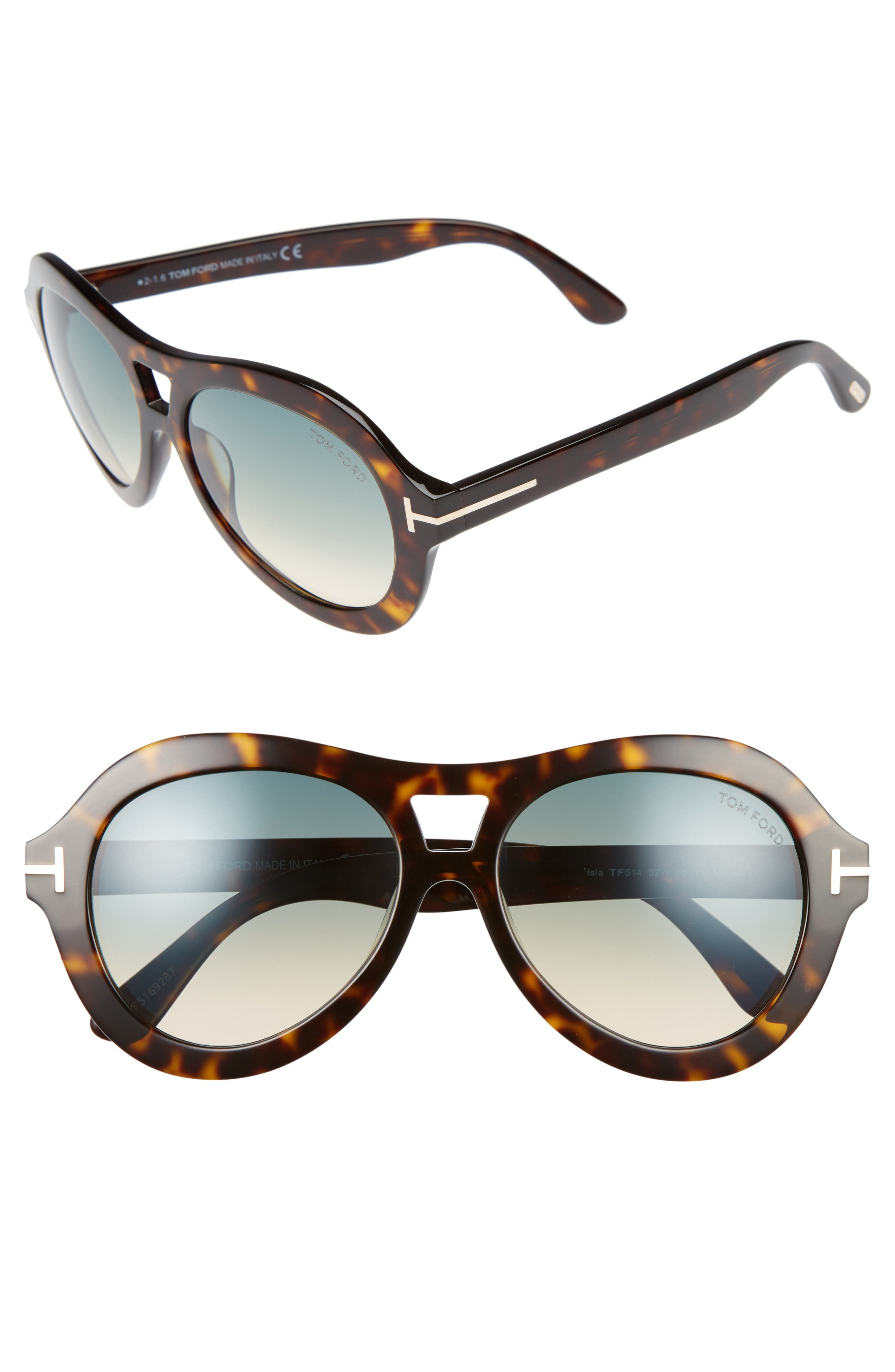 TOM FORD Isla 56mm Round Aviator Sunglasses