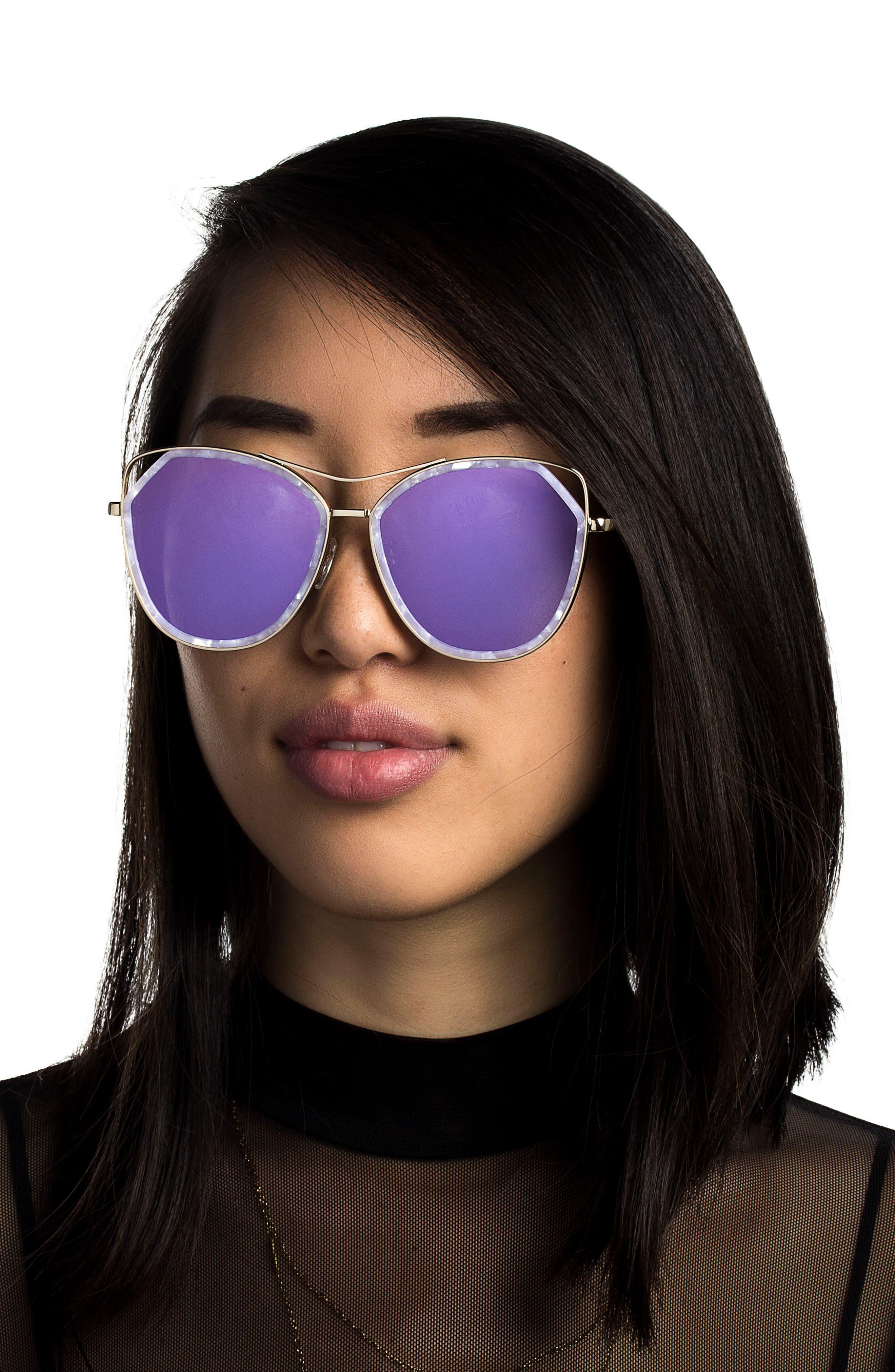 Grand 56mm Polarized Cat Eye Sunglasses,                             Alternate thumbnail 2, color,                             Lavender