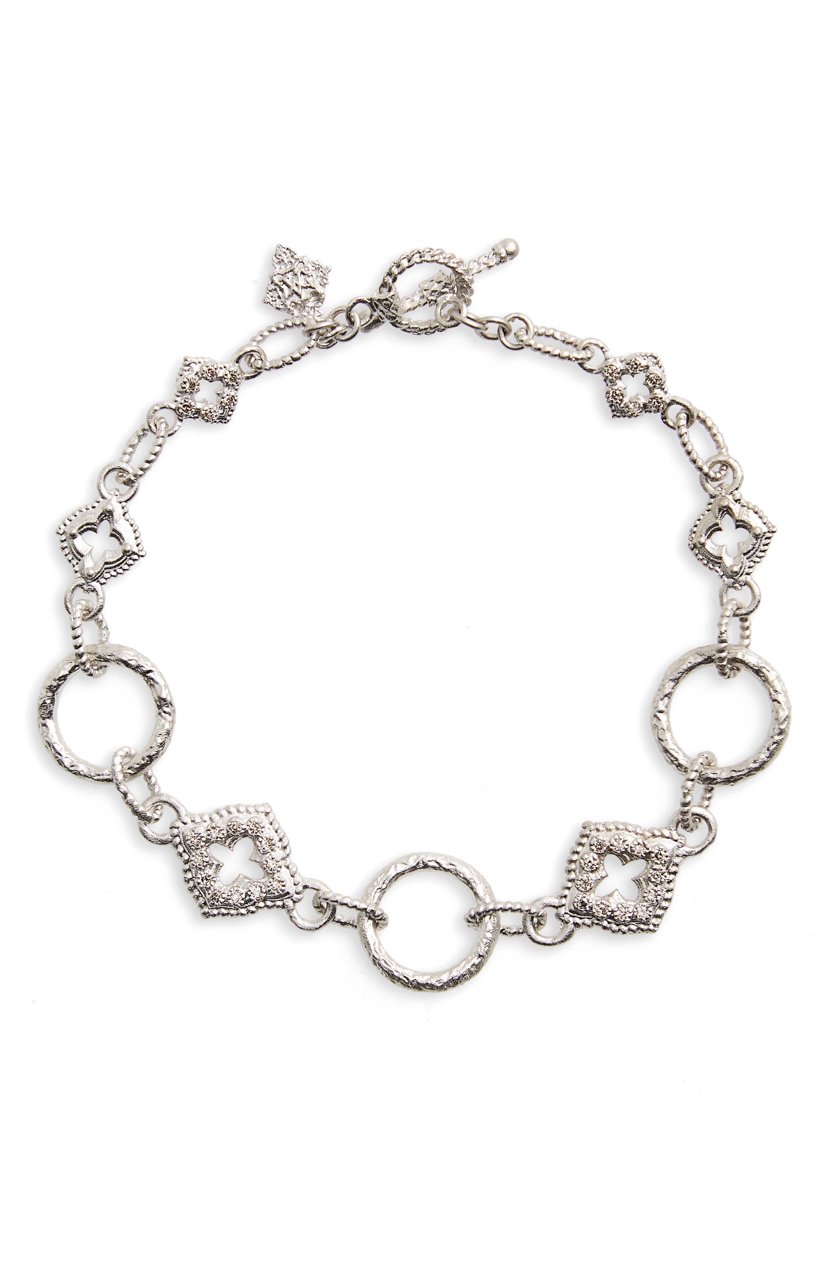 New World Diamond Circle Link Bracelet,                         Main,                         color, Silver
