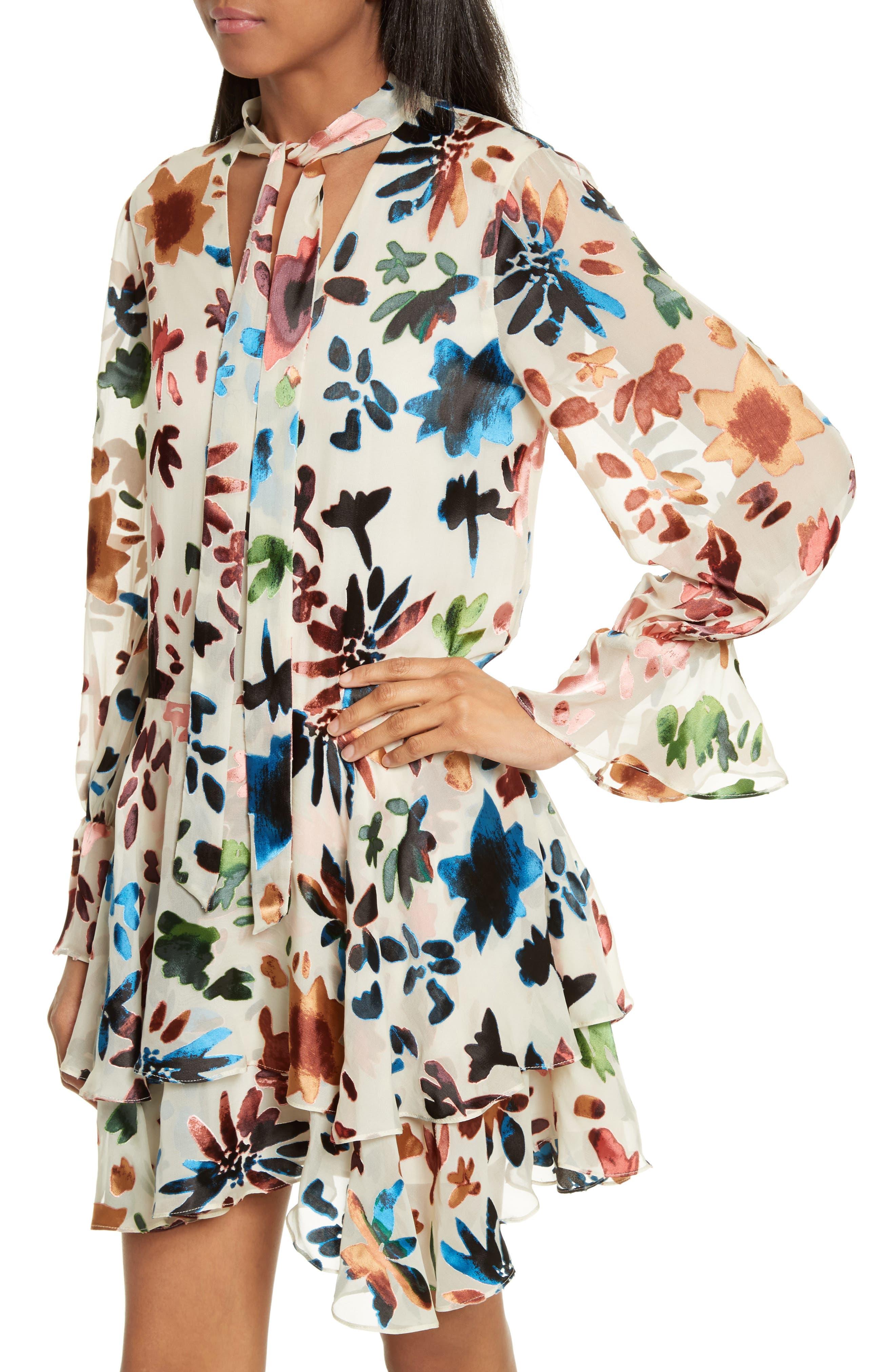 Moran Tiered Floral A-Line Dress,                             Alternate thumbnail 4, color,                             Prisma Floral Burnout