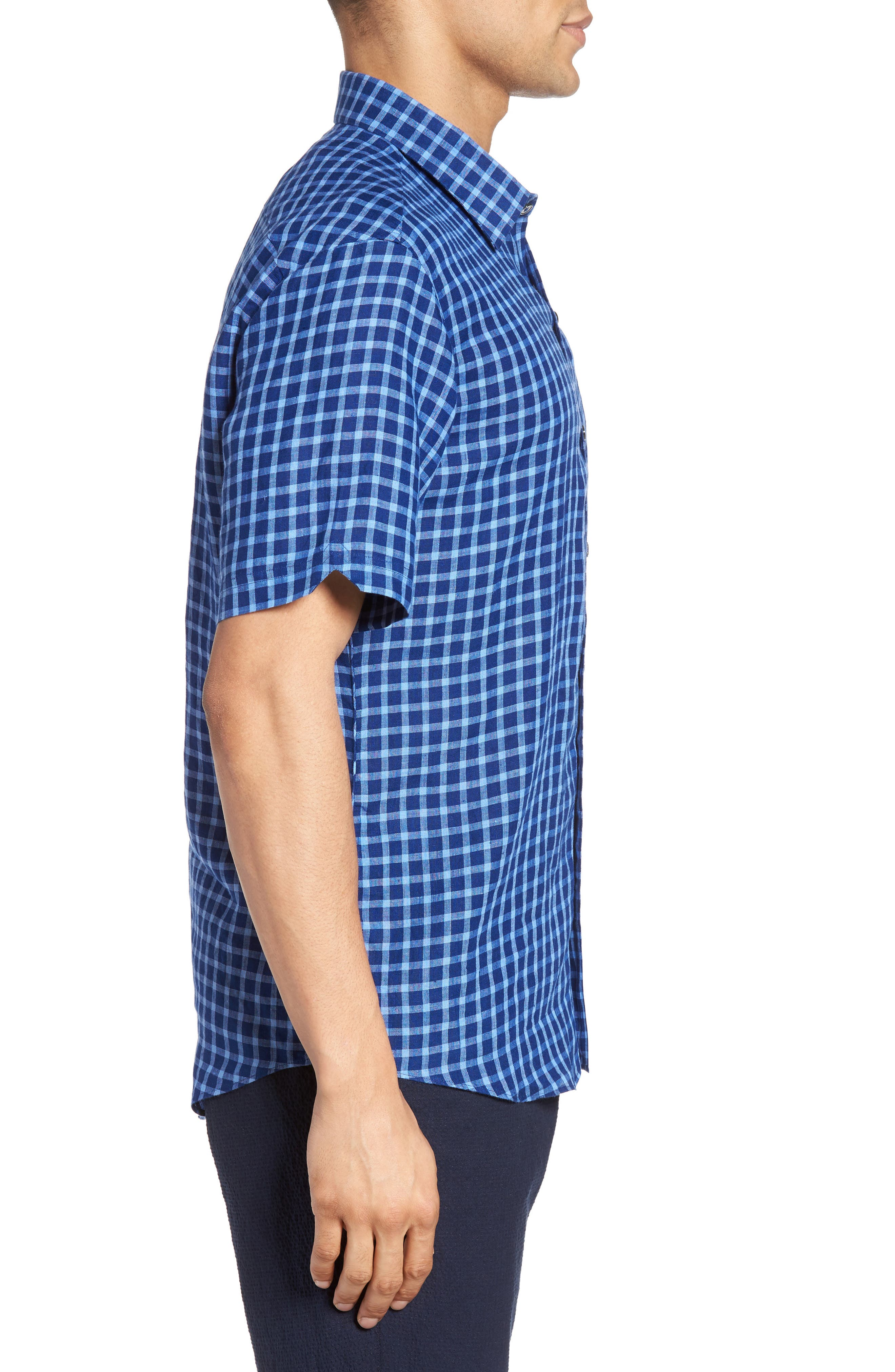 Ray Plaid Linen Sport Shirt,                             Alternate thumbnail 3, color,                             Pacific