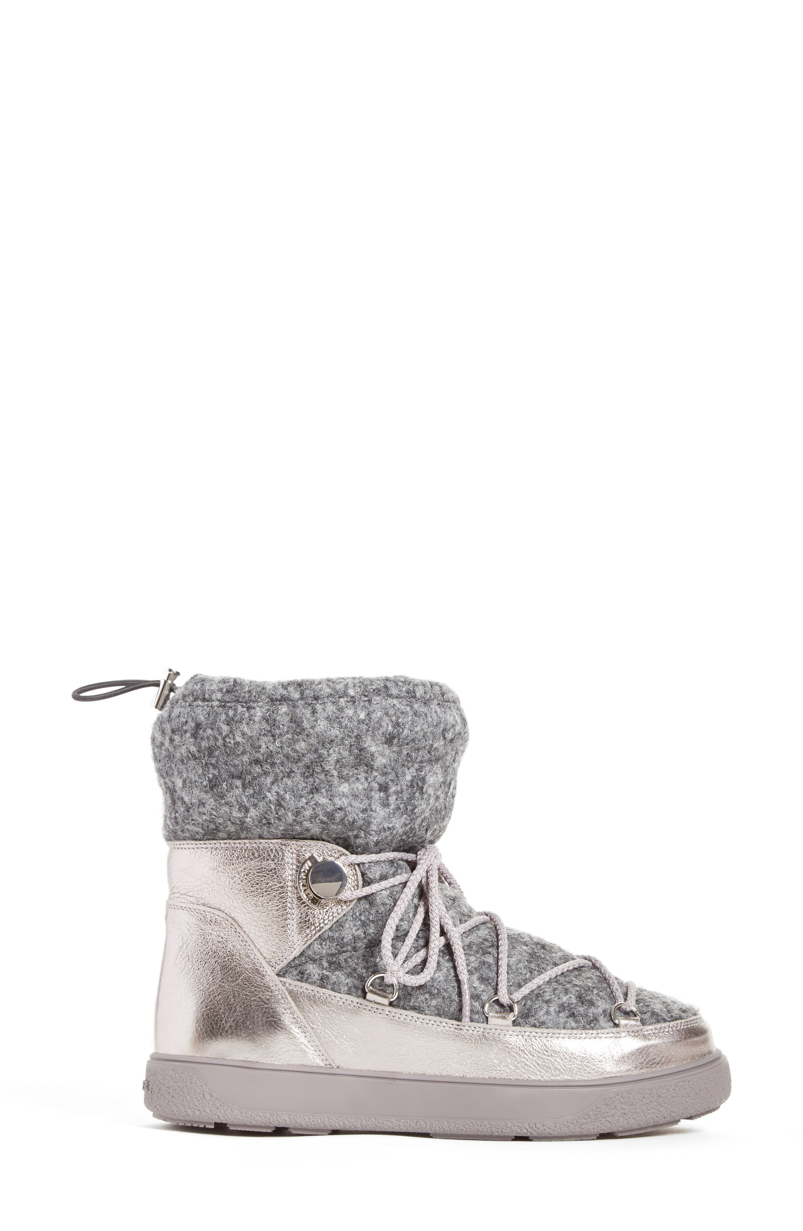 Ynnaf Boiled Wool Lined Snow Boot,                             Alternate thumbnail 3, color,                             Silver